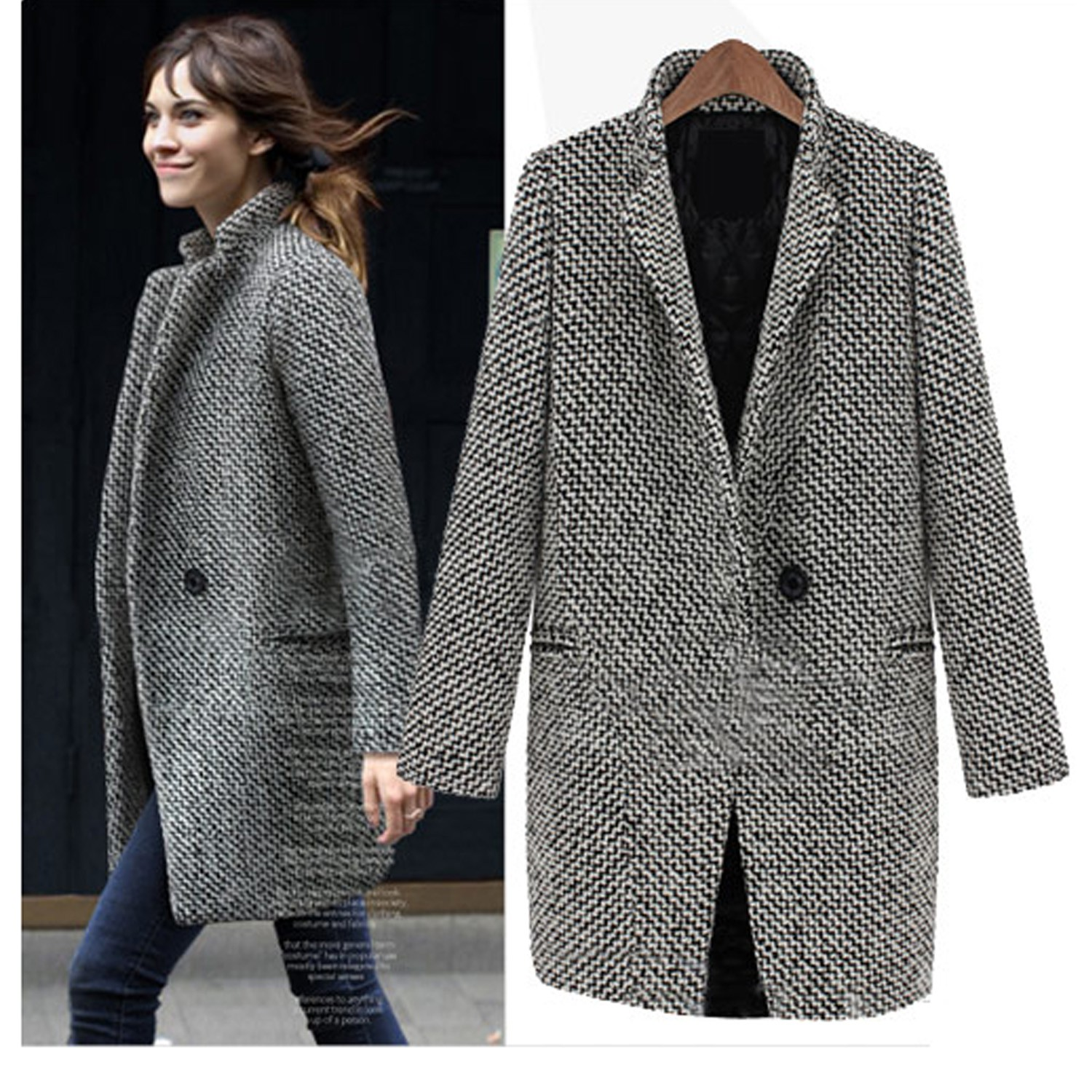 womens ladies peacoat New black and white winter jacket buttoned ...