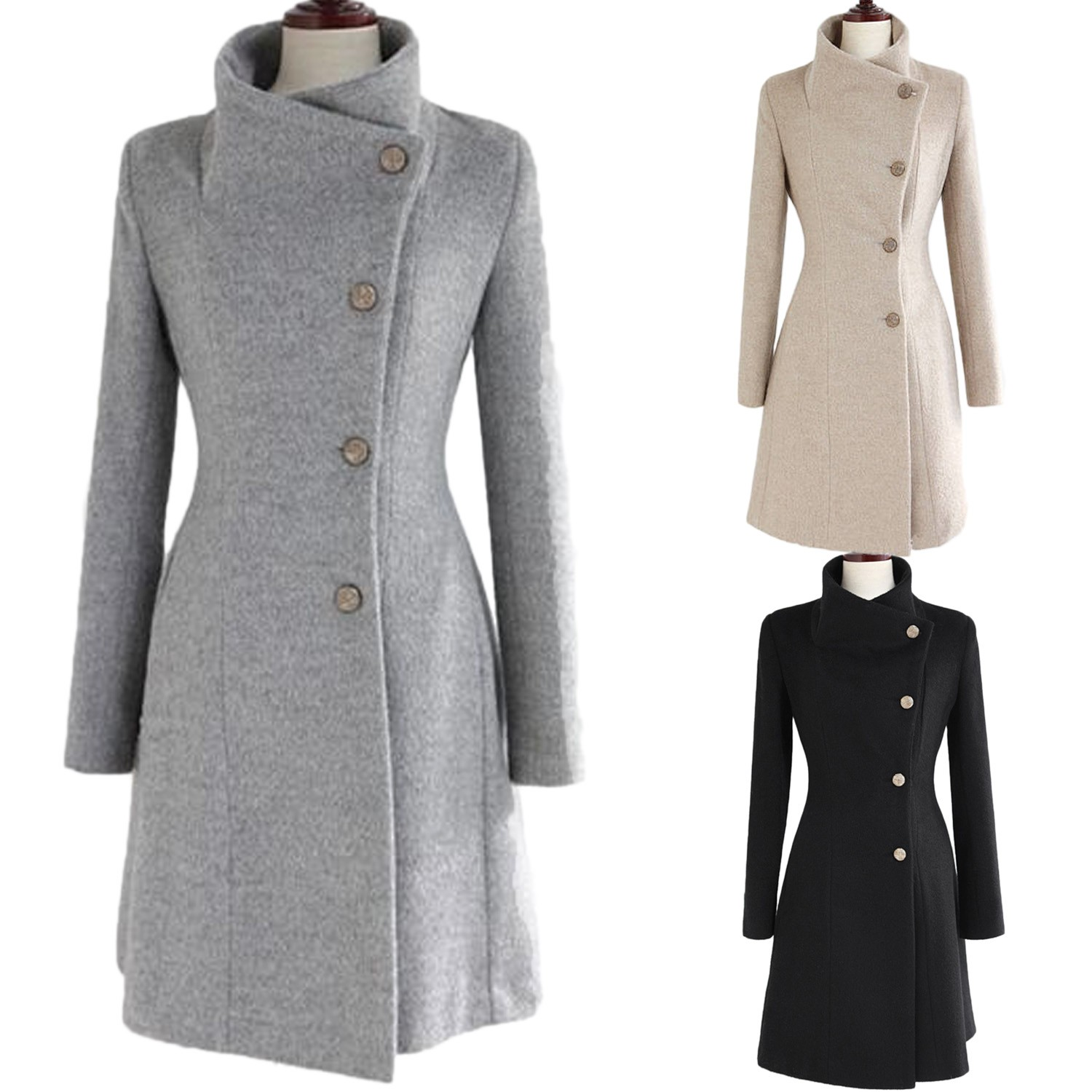 Long Sleeve Ladies Button Winter Vintage Upright Collar Belted Coat Jacket