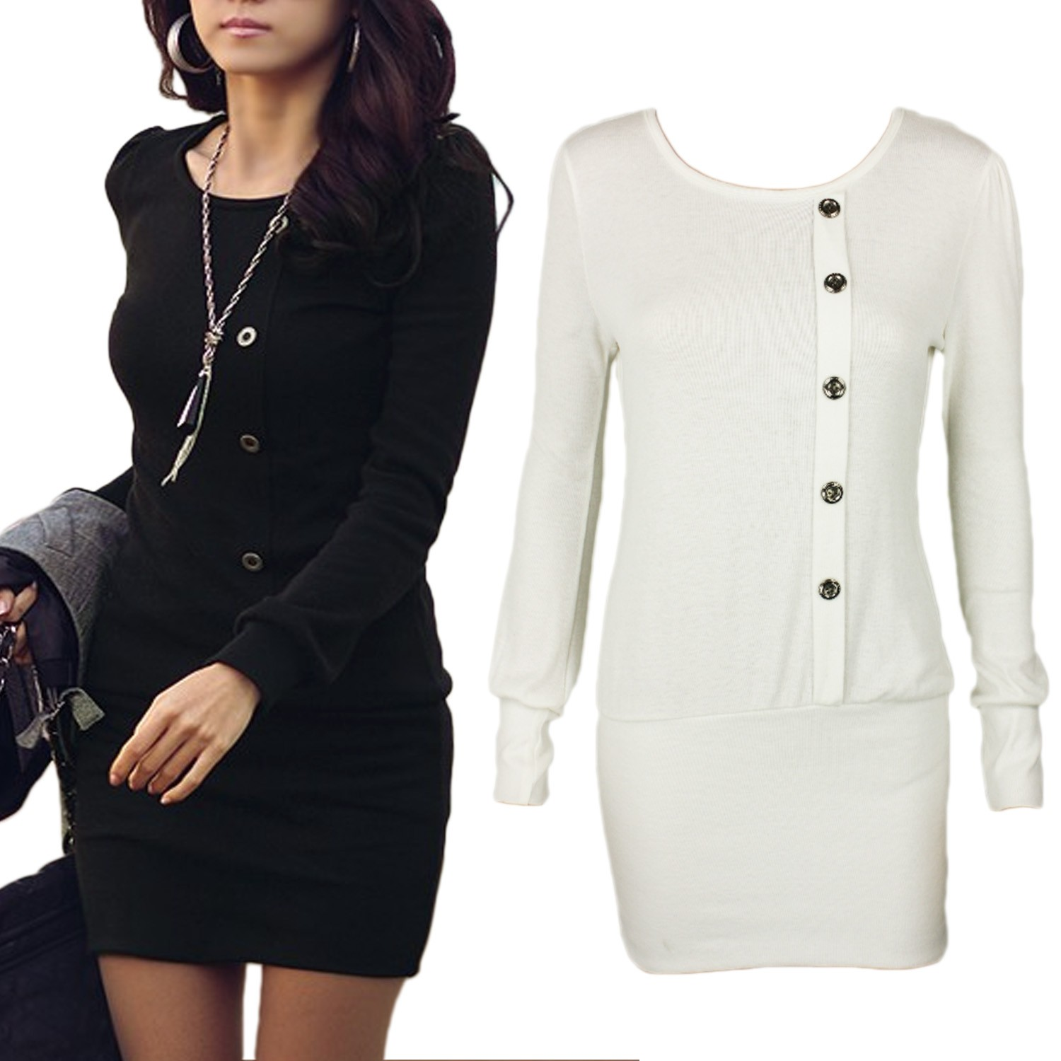 Black/White Gorgeous Womens Graceful NEW Long Sleeve Bodycon Mini Dress