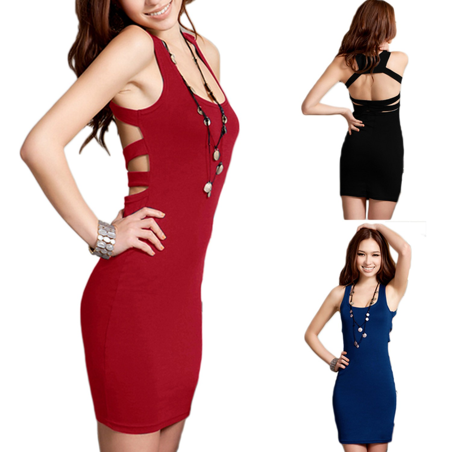 Black/Blue/Red Strappy Fitted NEW Clubwear Open Back Mini Tank Dress