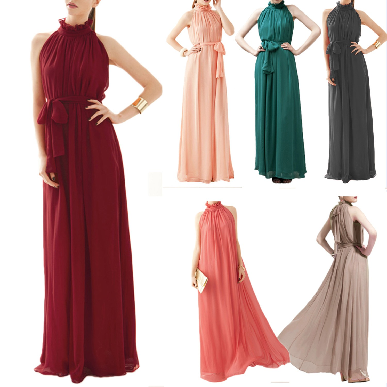 Vintage Cocktail Womens Boho Party Clubwear Chiffon Maxi Long Evening Dress