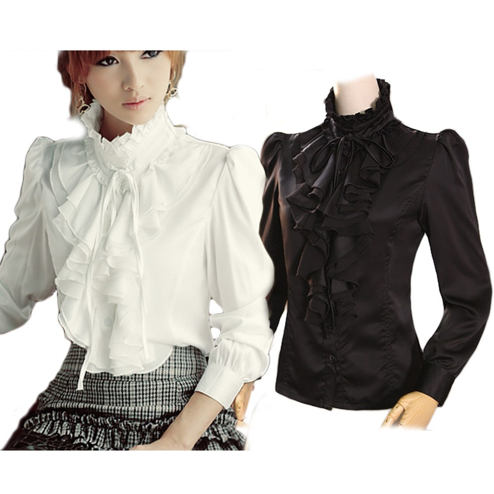 Black/White Boho Ladies Vintage Frilly Victorian Ruffle Top Shirt Blouse