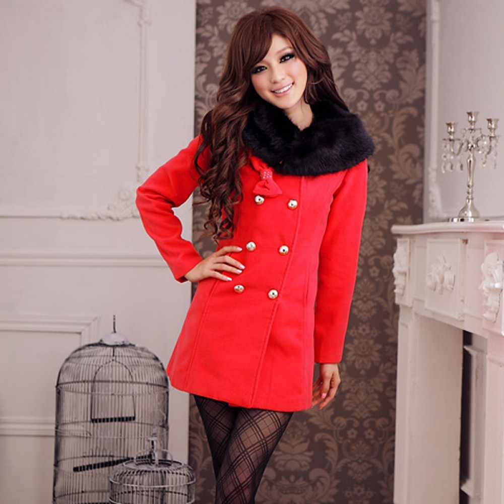 Black/Red Vintage Korea Cute New Ladies Gorgeous Coat