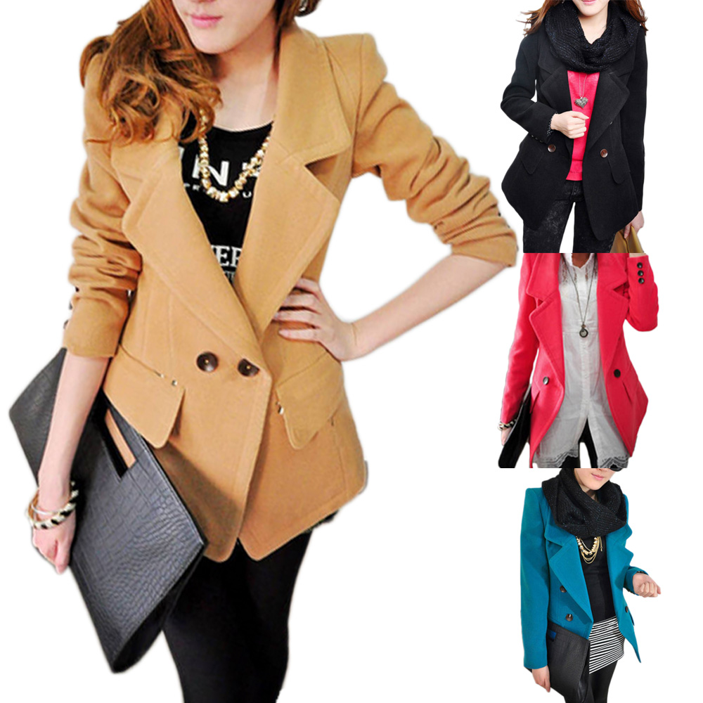 Overcoat New Womens Winter Long Sleeve Outerwear Double Trench Coat Jacket S-L