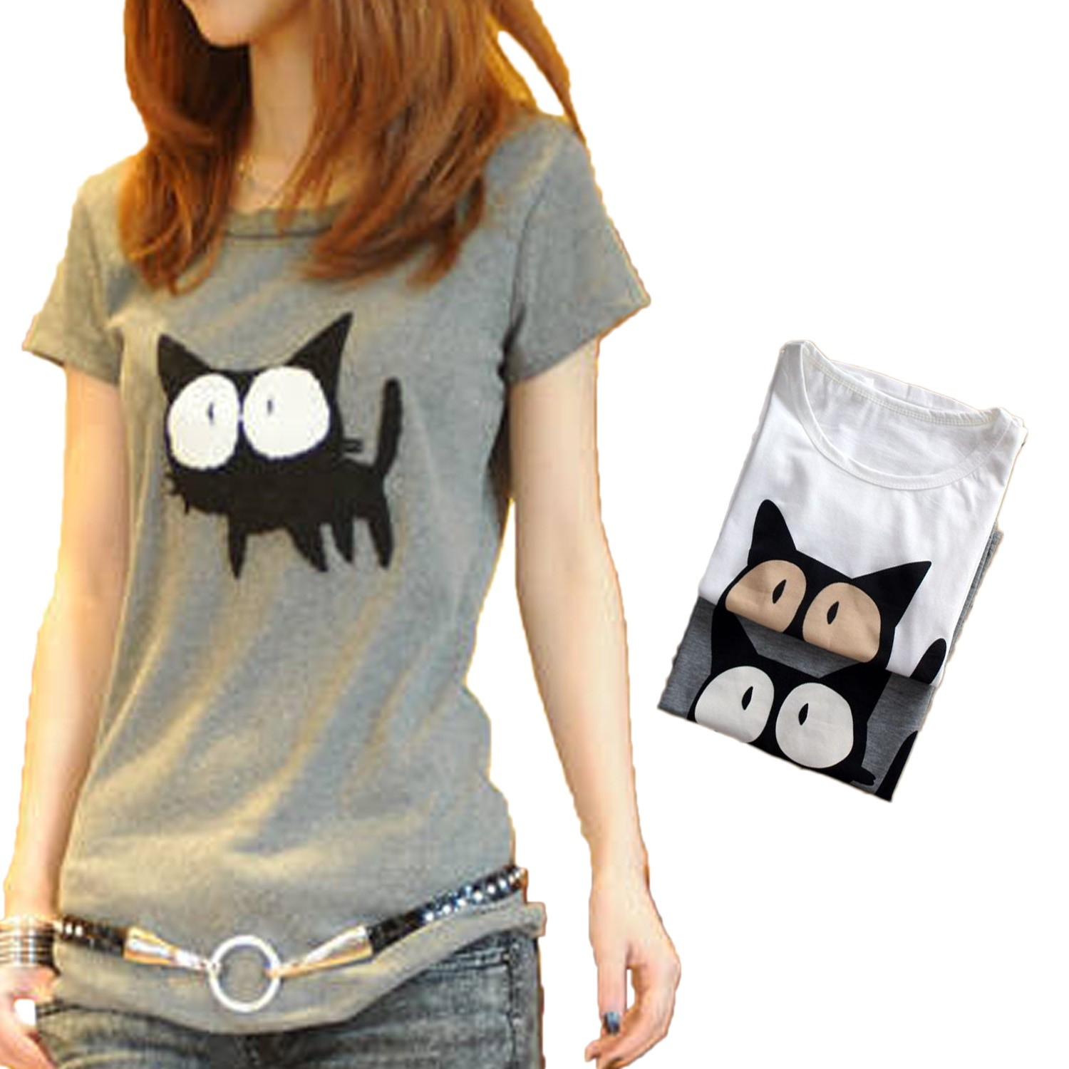 Womens NEW Japan Short Sleeve Ladies Retro Cat Print Top T Shirt