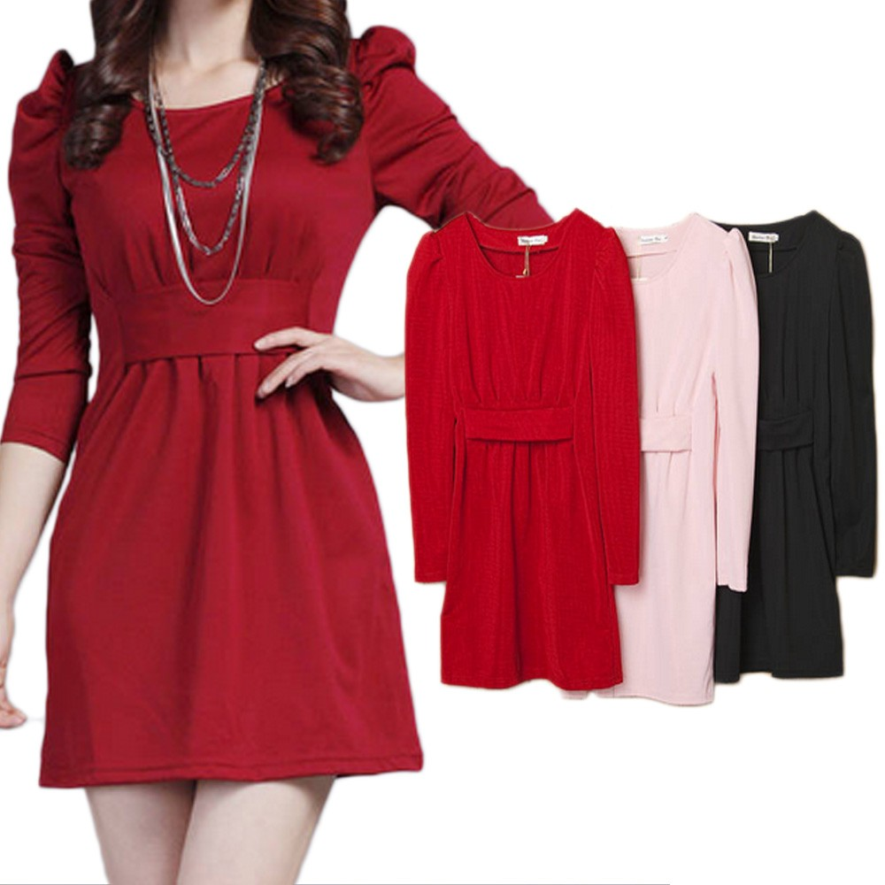 Black/Pink/Red Shift Party Evening Vintage Work Office Long Sleeve Mini Dress