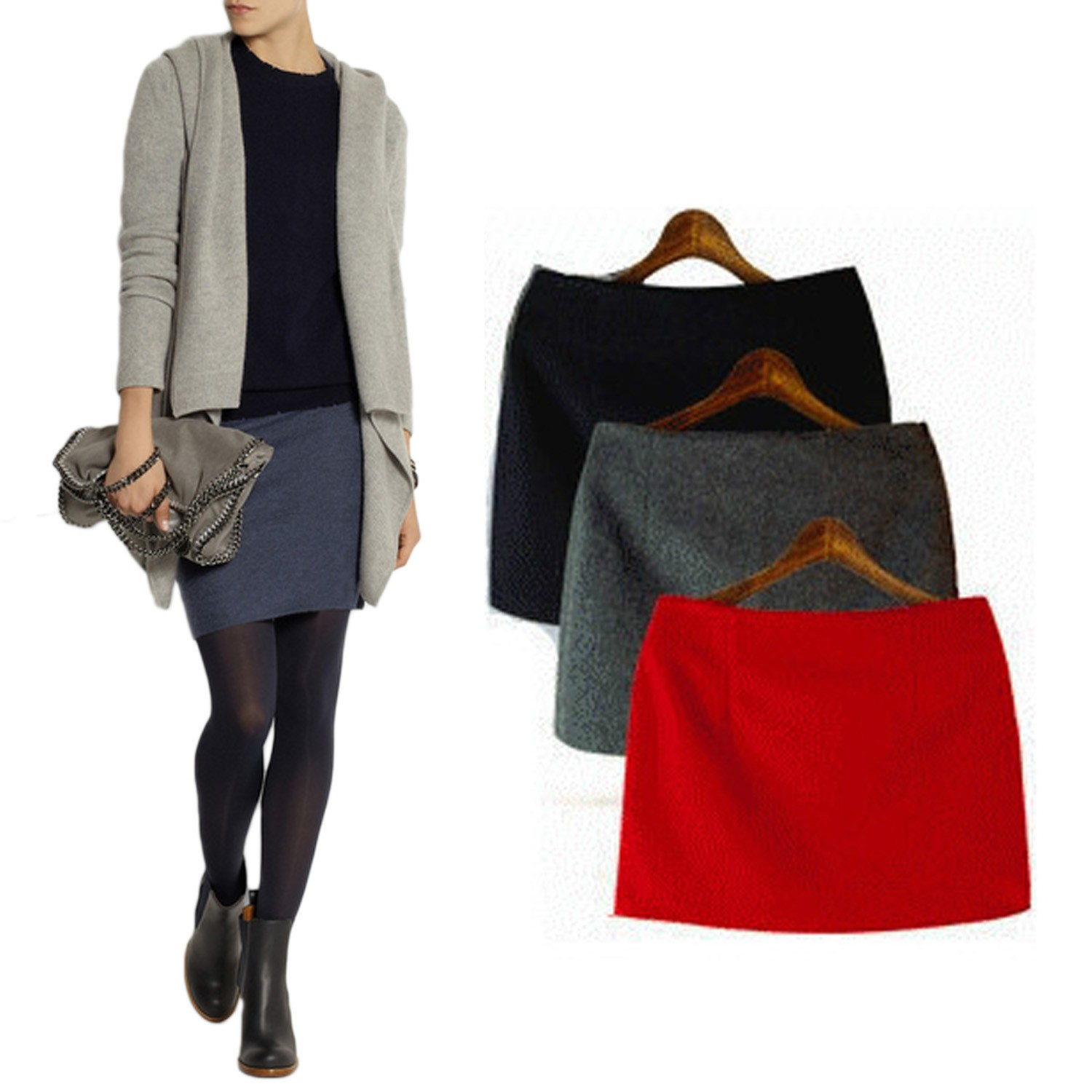 Dark Grey/Grey/Red New Modern Unique Womens Cashmere Low Waist Mini Skirt