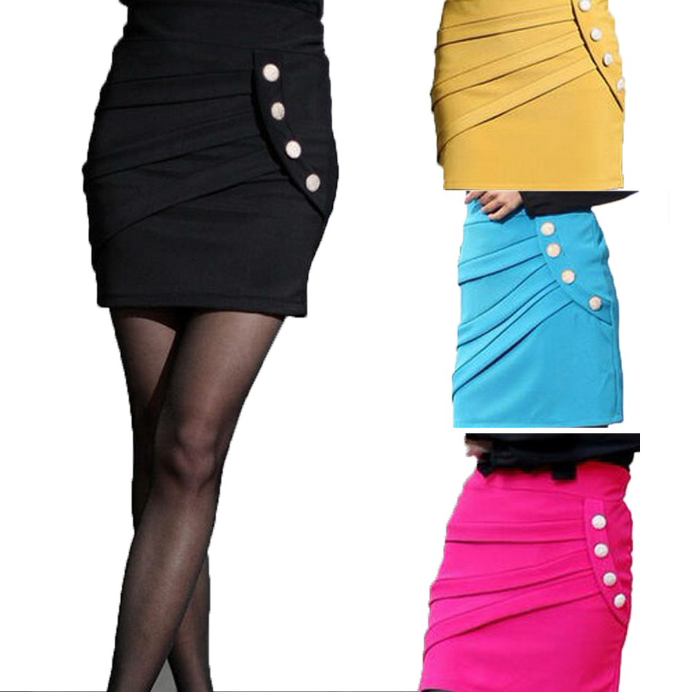 Black/Blue/Pink/Yellow Bell Vintage Pencil New 80s Bodycon Mini Skirt