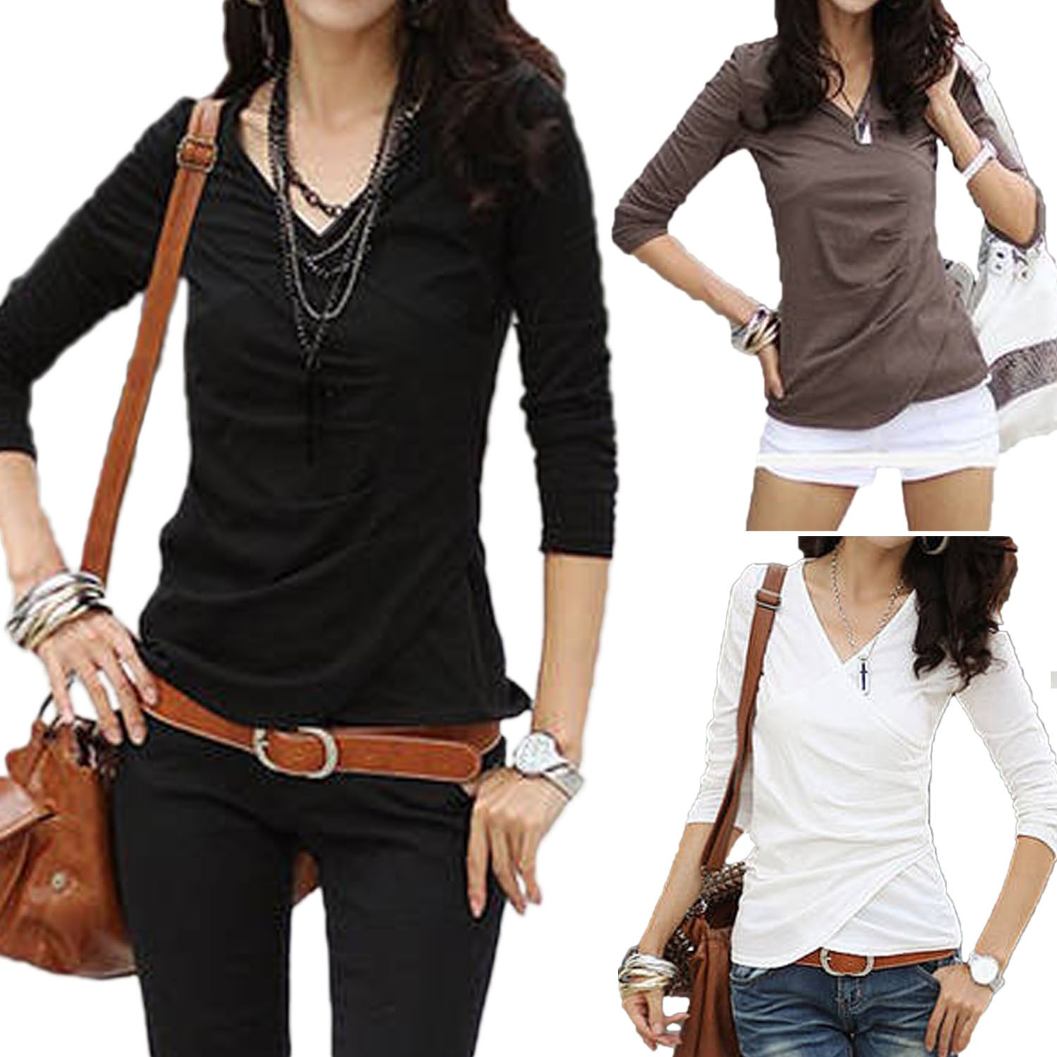 Womens Black/White/Brown V Neck Wrap Shirt Top Blouse Long Sleeve XS-L 0 2 4 6