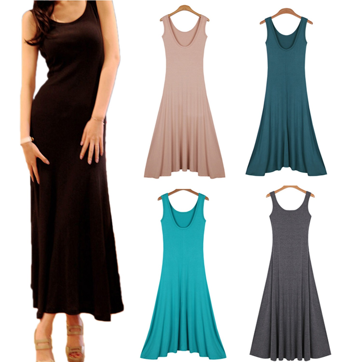 Black/Pink Ladies Hippie Low Back Backless Maxi Long Tank Plain Slip Dress