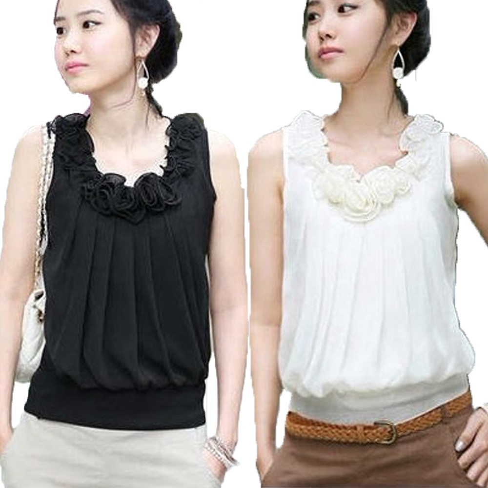 Black/White Ladies Party NEW Sleeveless Chiffon Floral Tank Blouse Top 