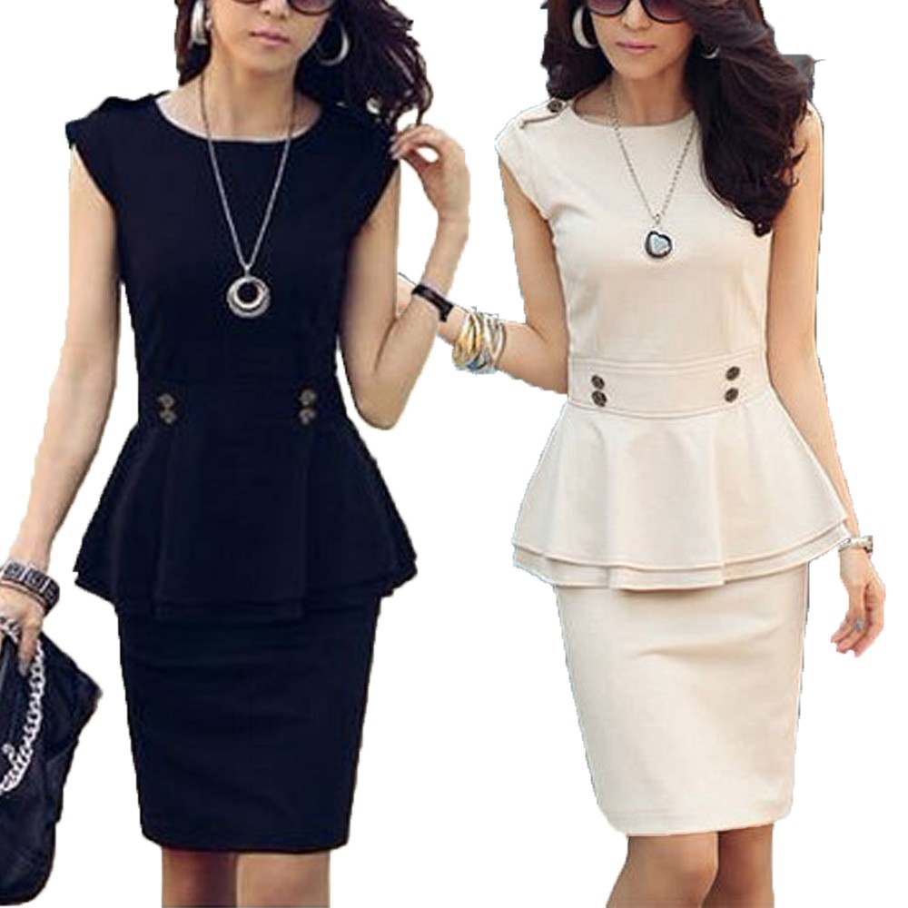 Beige/Black Dress Womens Hippie Peplum Work New Sleeveless Top Skirt Suit
