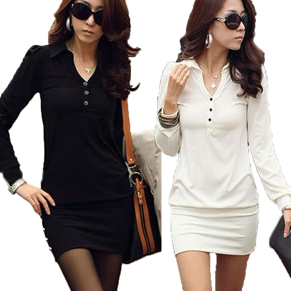 Black/White Womens Party Clubbing Collar Button Long Sleeve Mini Dress