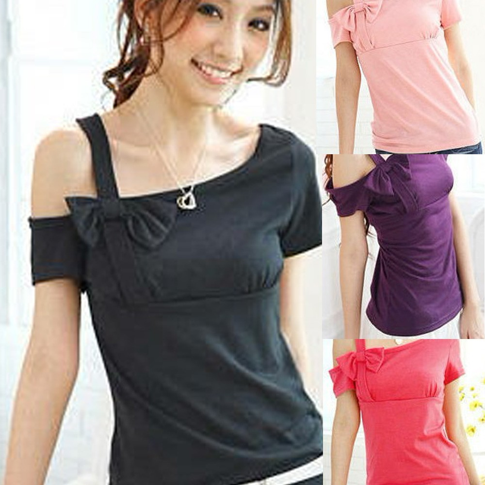 Black/Peach/Pink/Purple New Fitted Slim Women One Shoulder Bow Top Blouse