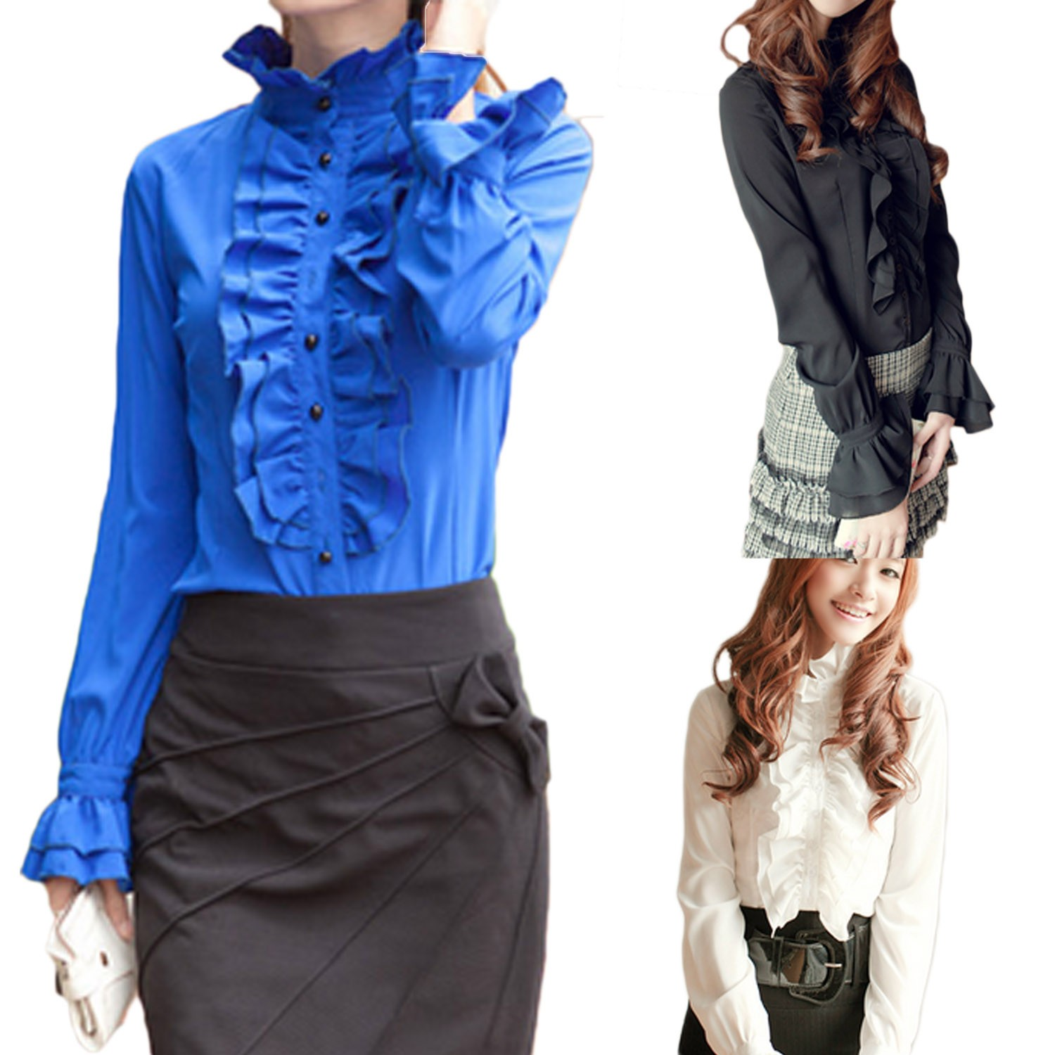 Ruffle Button Sheer Chiffon Stand Collar Shirt Blouse