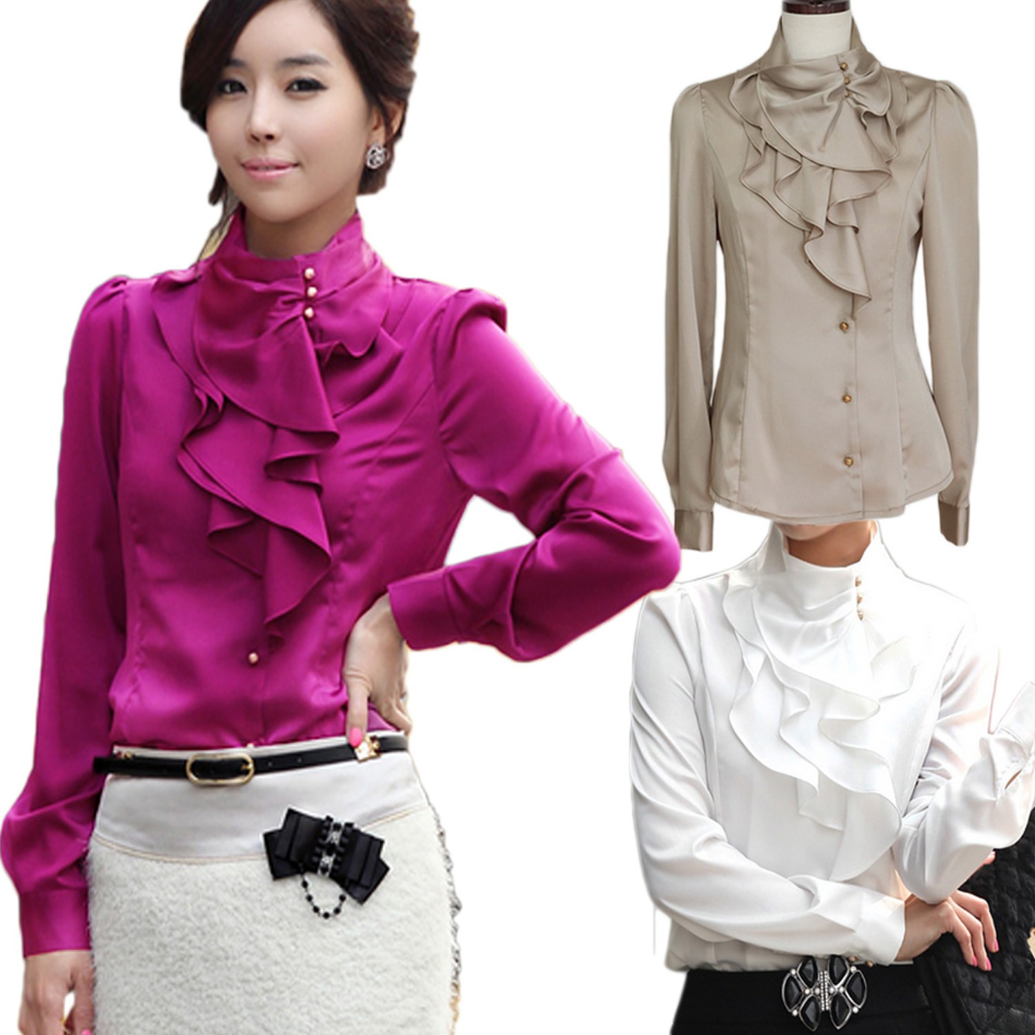 Beige/Purple/White Long Sleeve New Collar Korea Shiny Ruffle Shirt Blouse Top