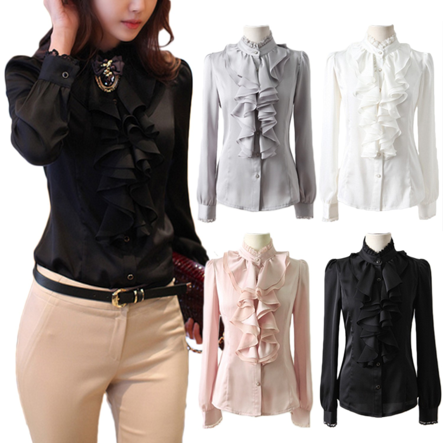 Lace Collar Ruffle Satin Shirt Top - 4010#