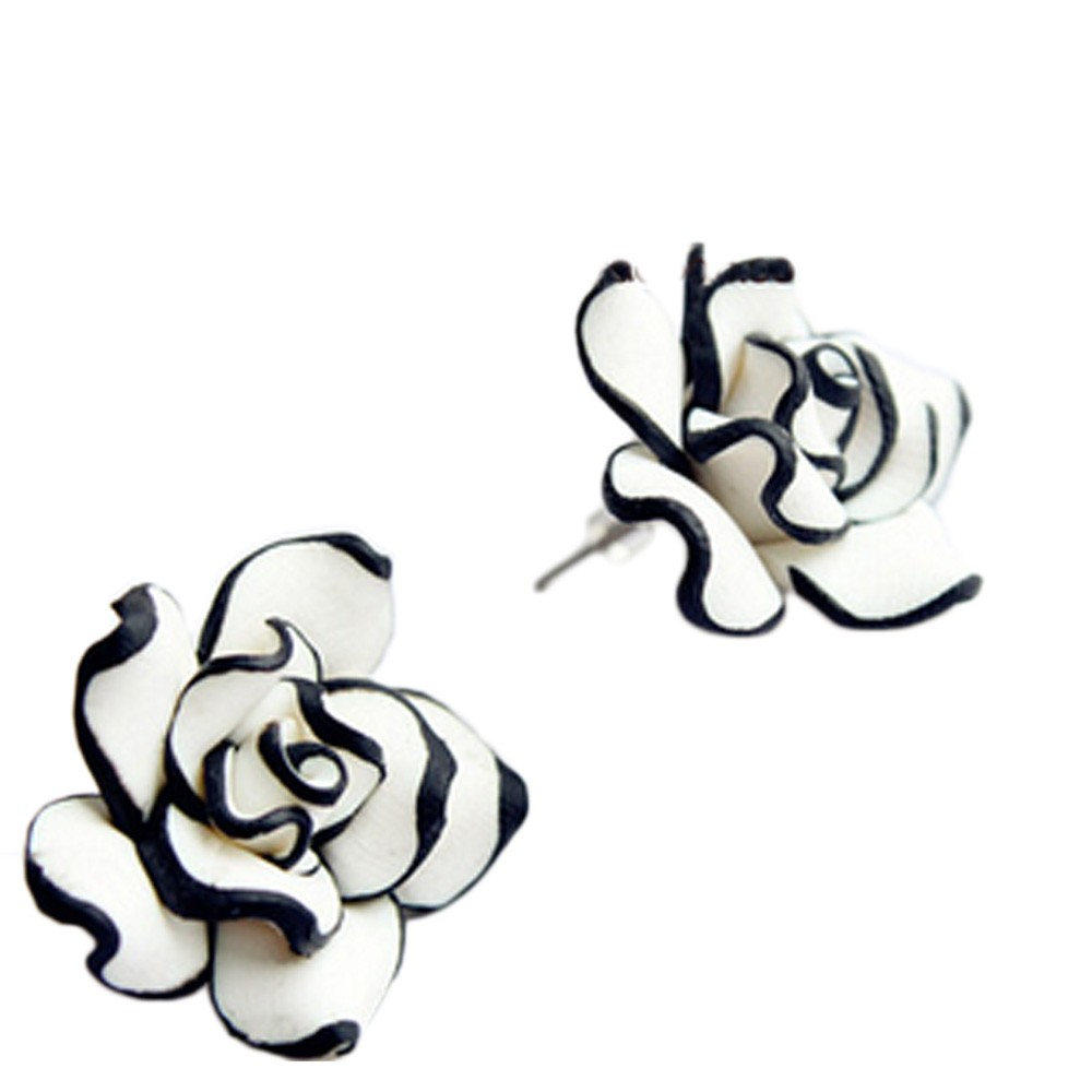 Black And White Womens Style NEW Accessories Ladies Rose Flower Stud Earrings