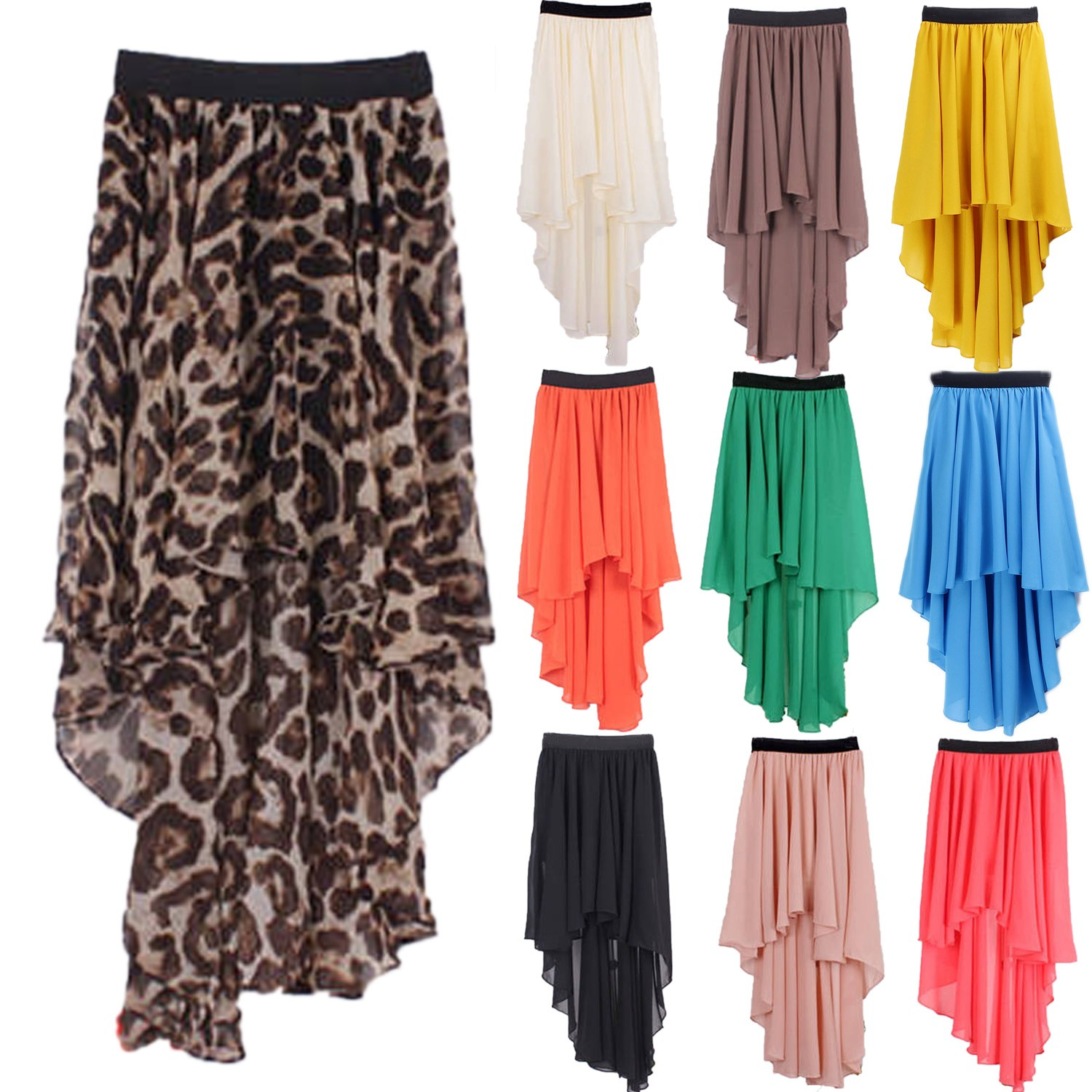 Chiffon Mullet Asymmetrical Long Skirt