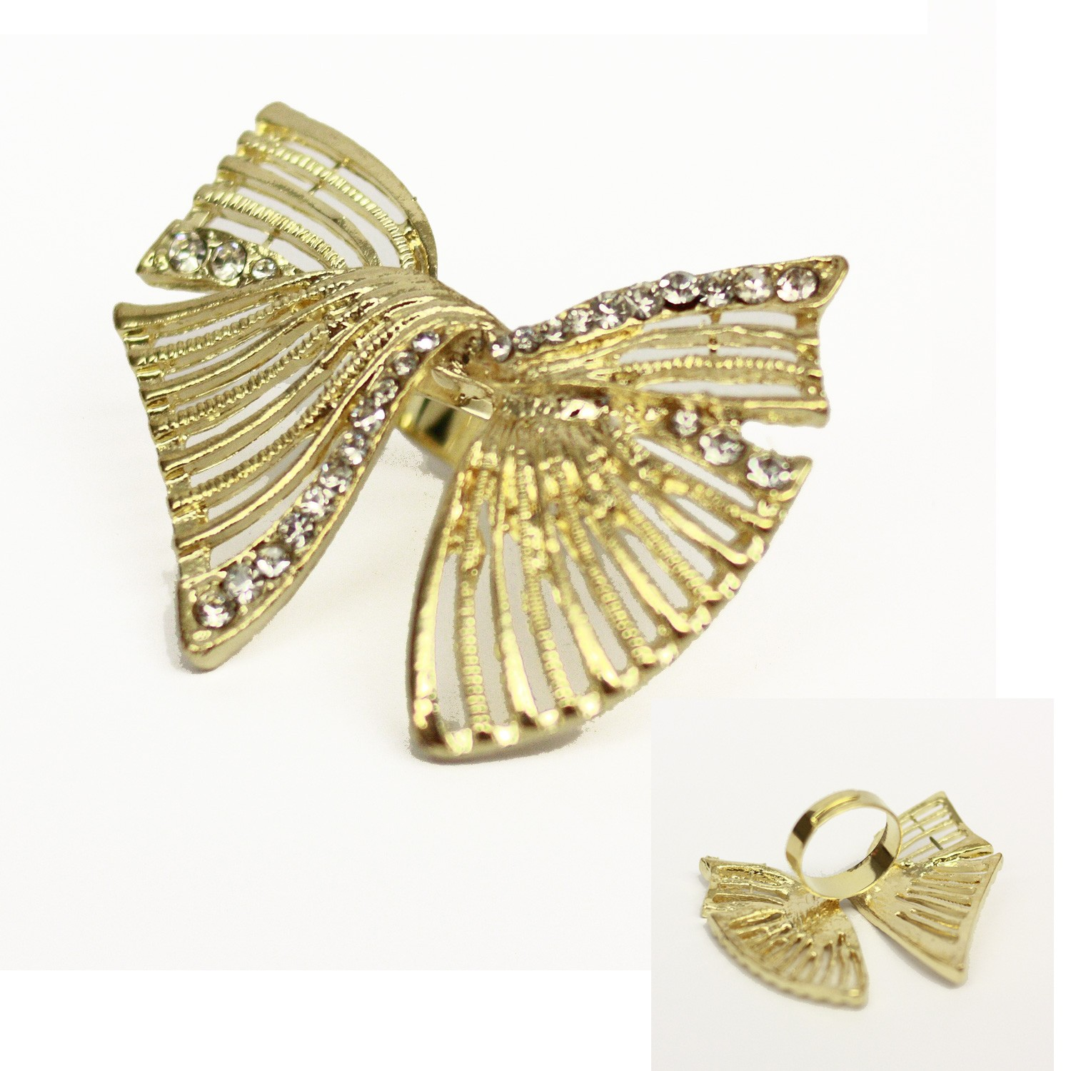 Gold Vintage NEW Womens ladies Twisted Style Bufferfly Ring