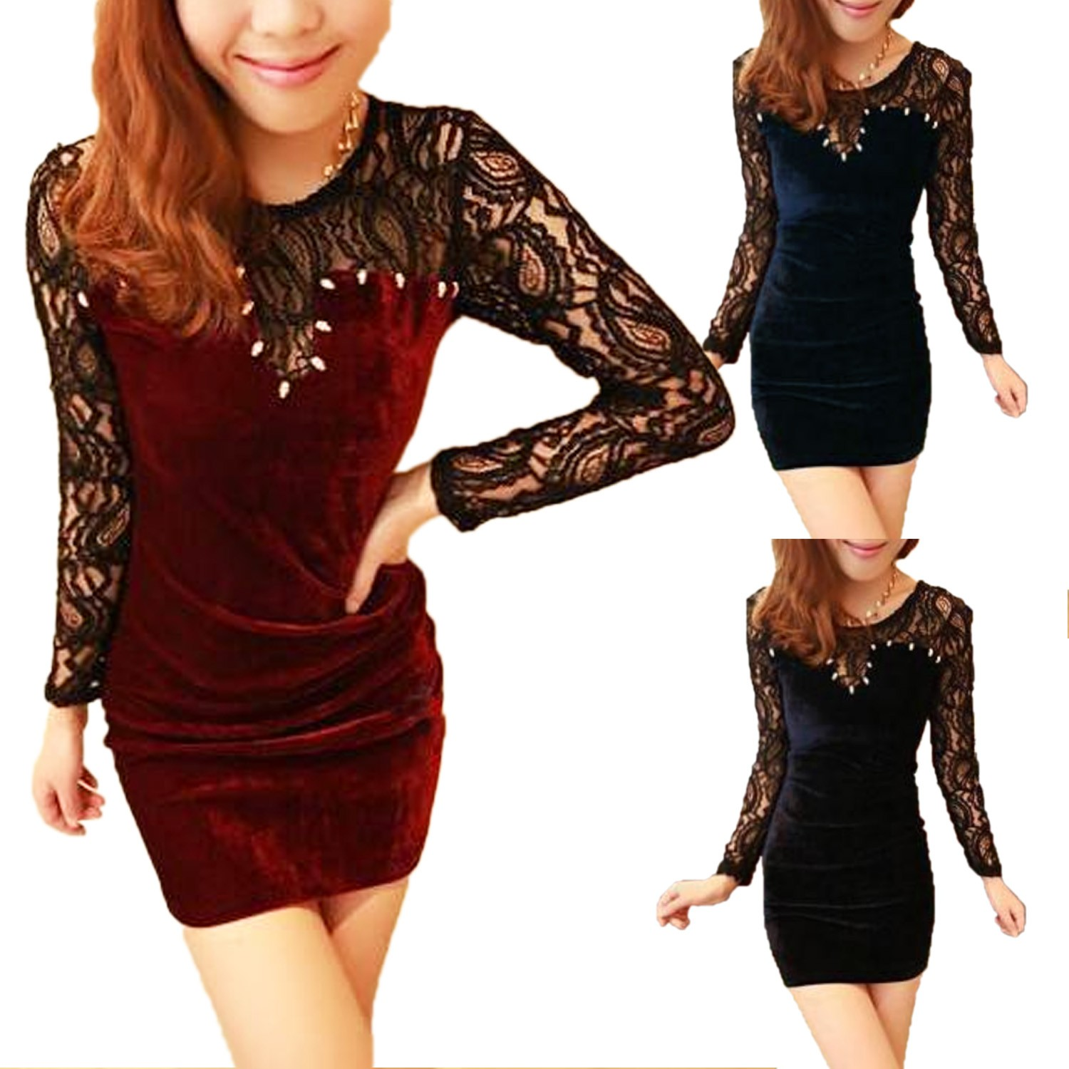 Boho Mini Lace Long Sleeve Crochet Velvet Dress AU 6 8 10 12 14 Womens Ladies