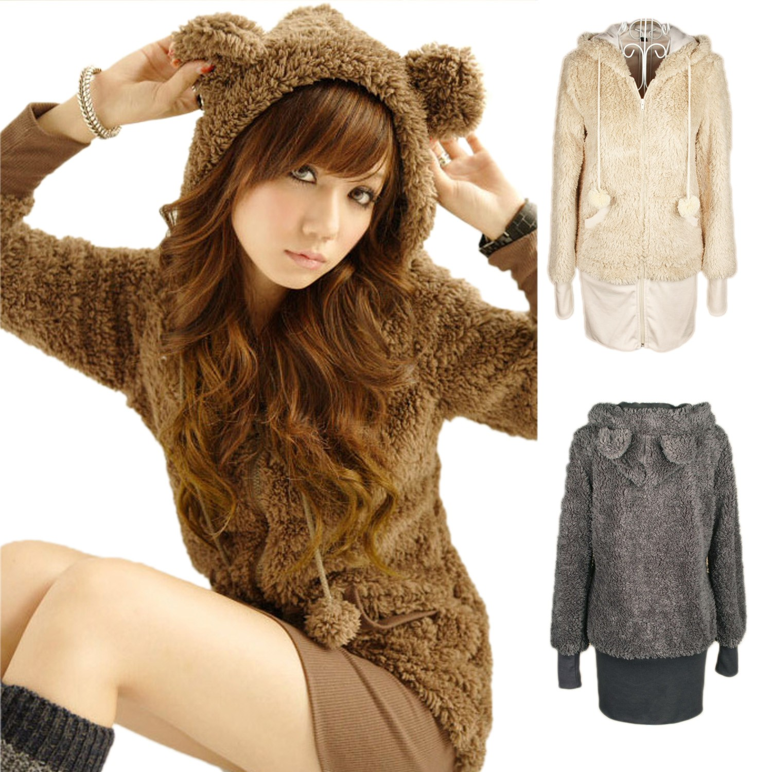 Beige/Brown/Grey Ladies Womens Hoody NEW Sweater Bear Ears Hoodie