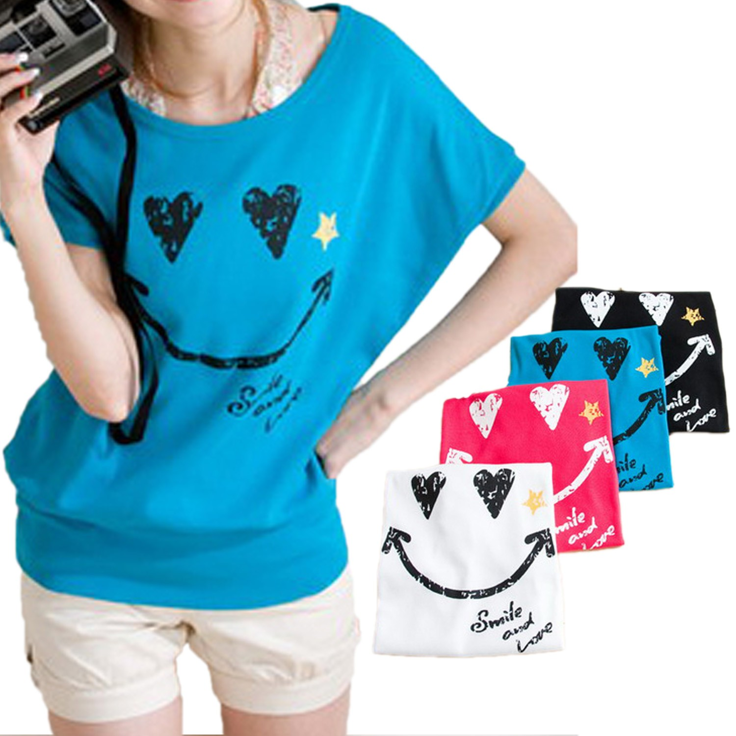Smile Print Top Shirt - 614#