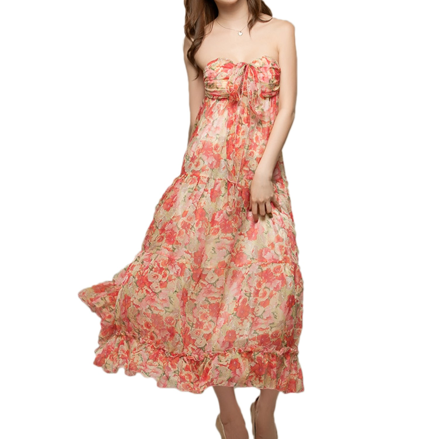Red Cocktail Evening Summer Hippie Floral Bohemian Strapless Maxi Dress