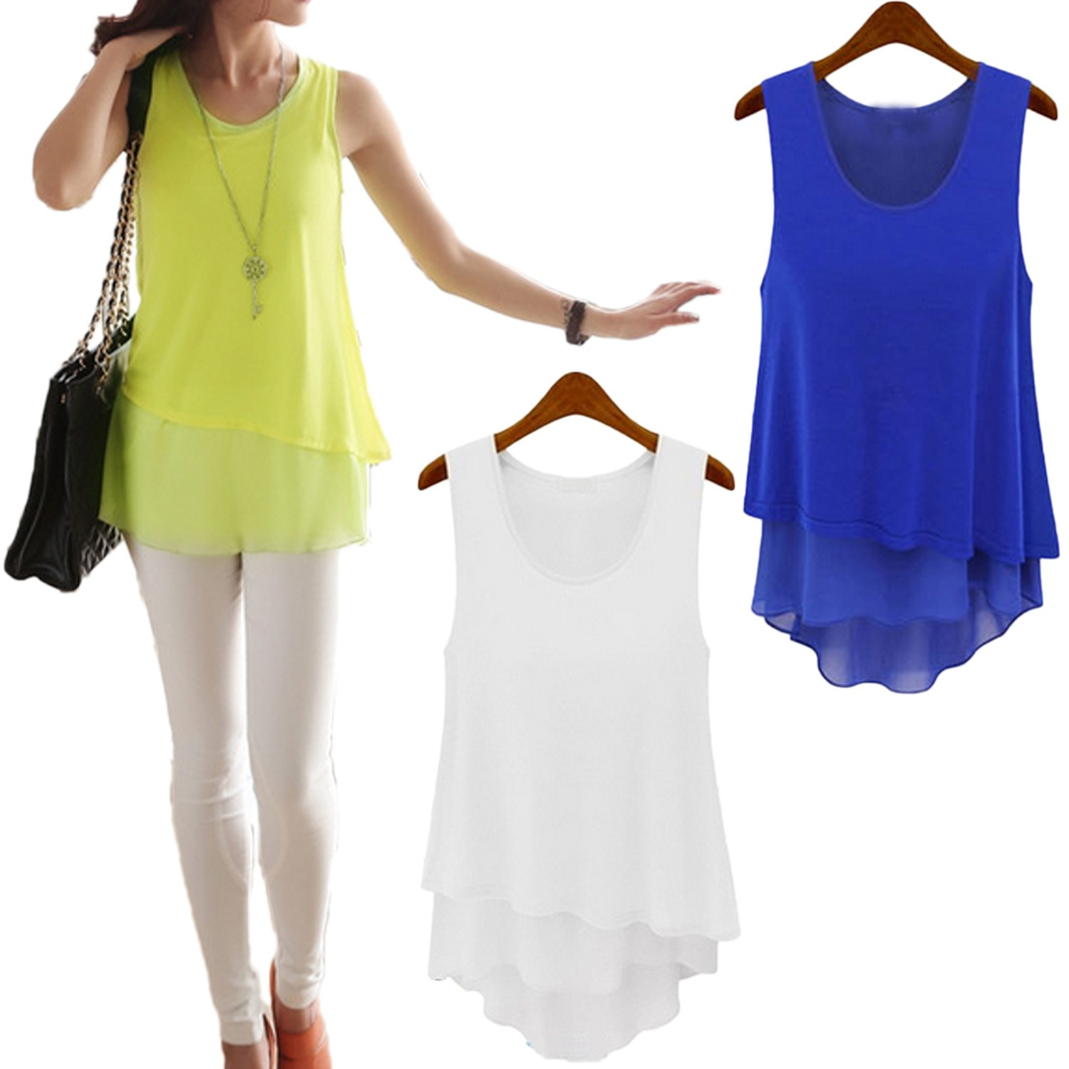 Sleeveless Chiffon Tank Top Blouse - 6992#