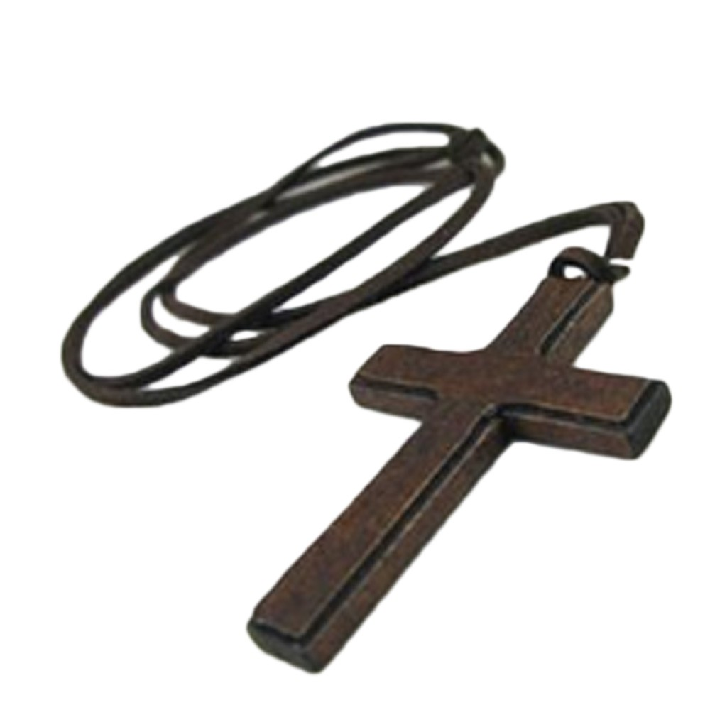 Brown Womens NEW Unisex Ladies Wood Cross Pendants Casual Leather Necklace