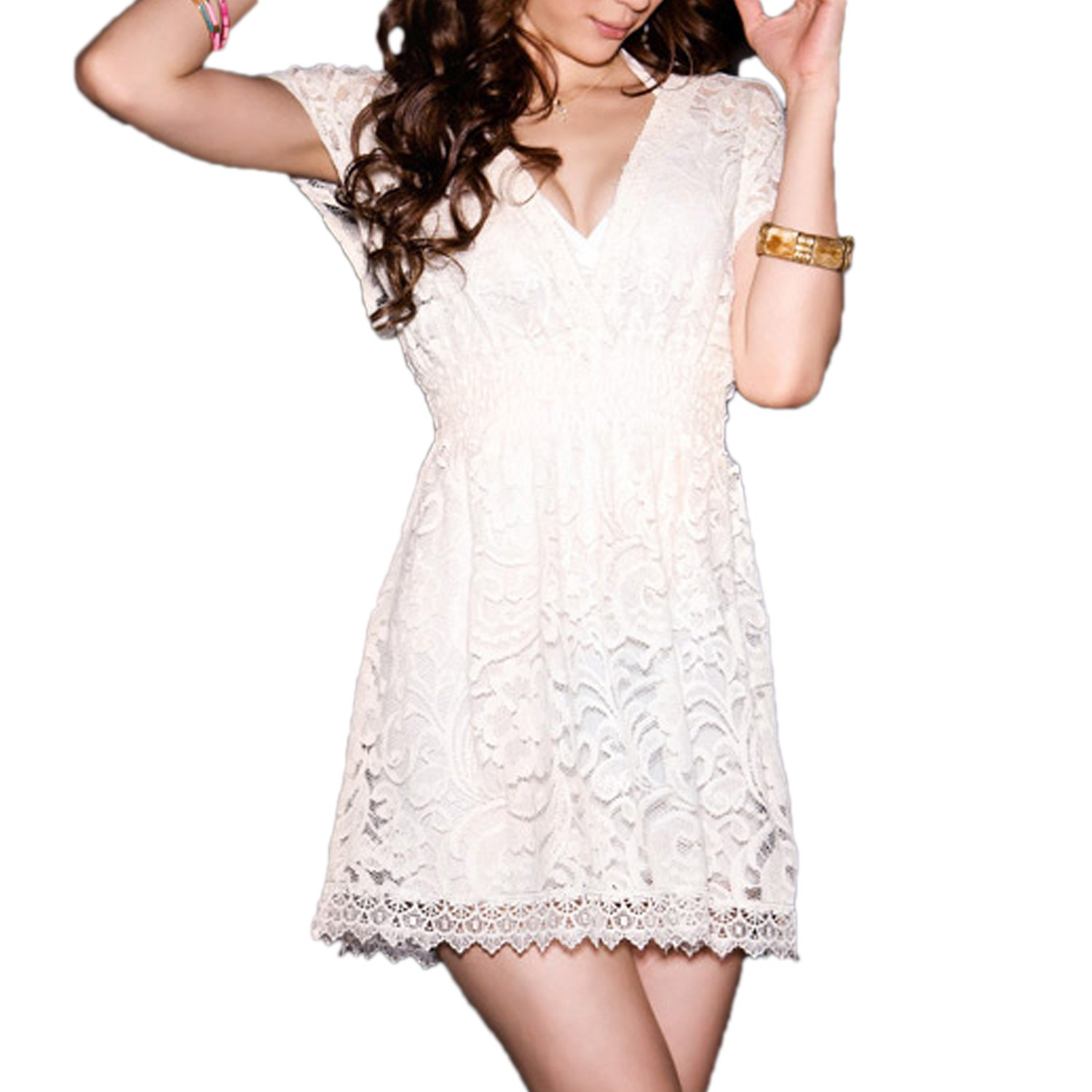 Beige New Sexy Lace Womens Tunic Mini Dress Size S