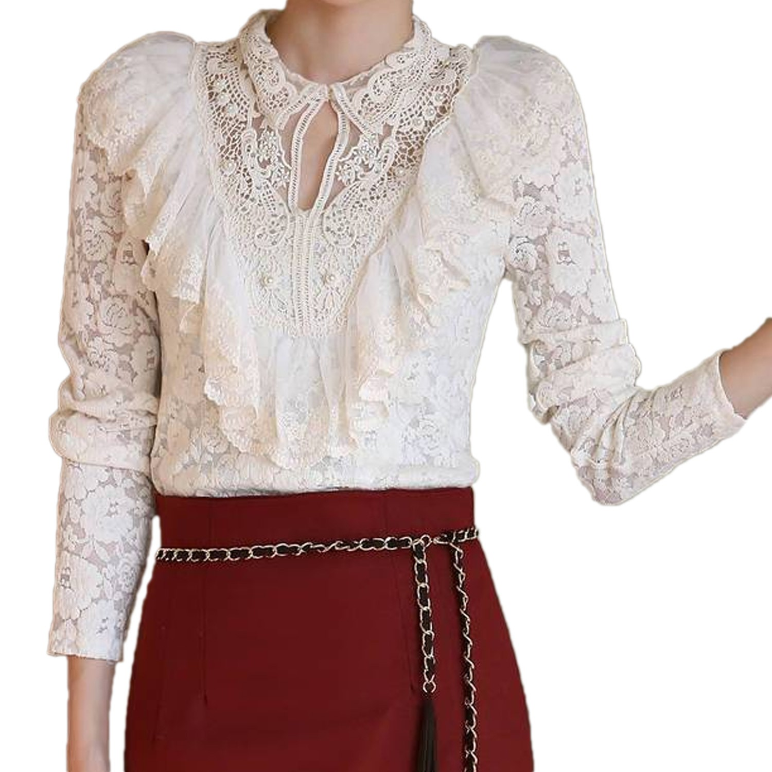 Womens VTG White Victorian Long Sleeve Lace Shirt Blouse Top Size XS-L 0 2 4 6