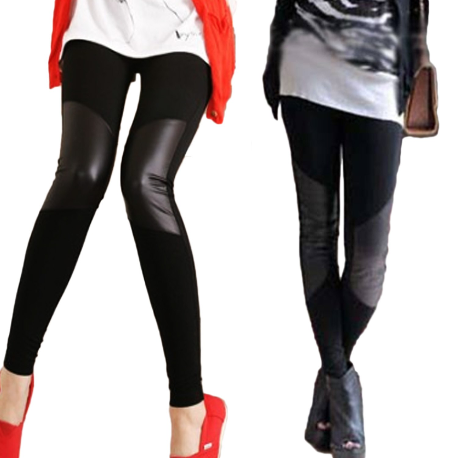 Black/Grey Splicing NEW Leather Cotton Leggings Tights AU sz S Ladies Japan