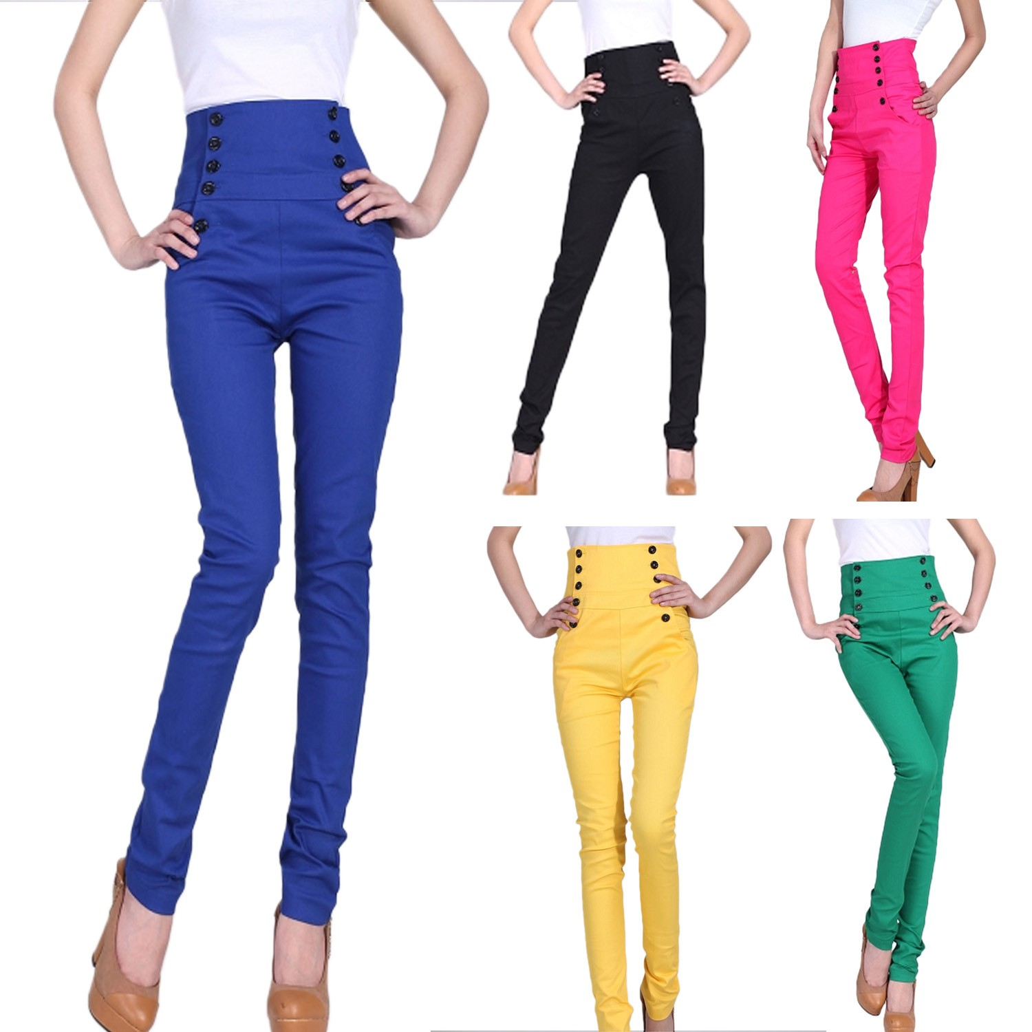 Hippie Vintage Ladies Womens High Waist Buttons Jeans Pants AU 6 8 10 12 14