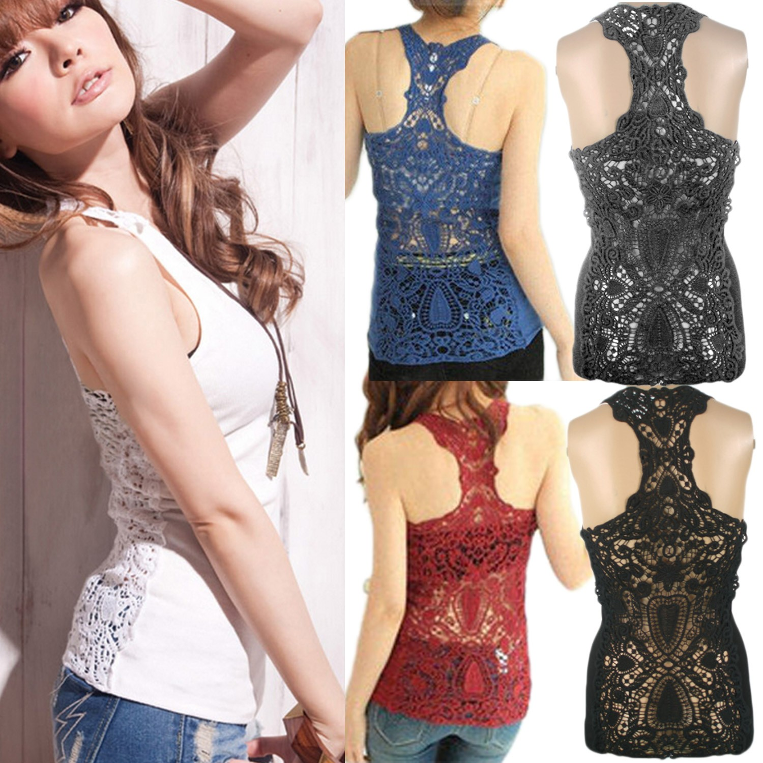 NEW Lace Crochet Cami Vest Tank Top Singlet US sz S Black/Blue/Grey/Red/White