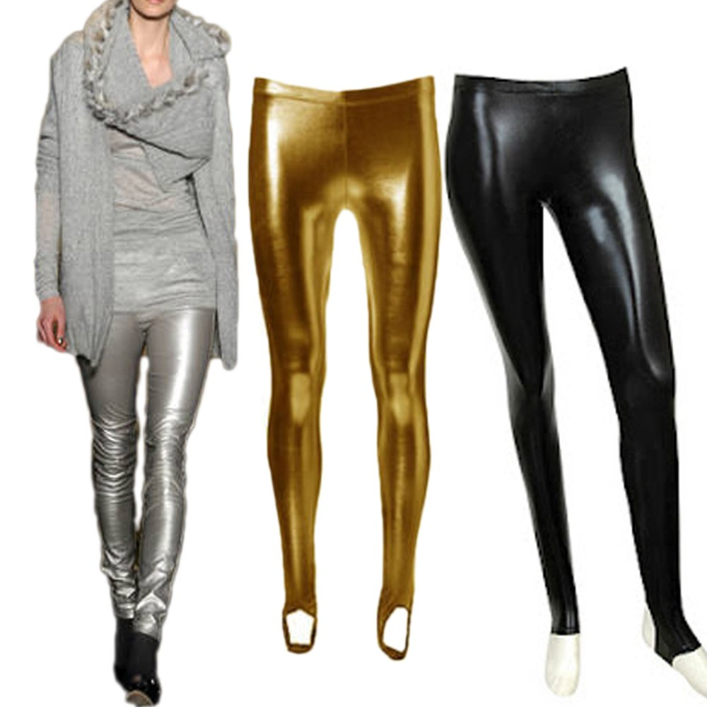 Black/Gold/Silver NEW Party Girls Ladies Stirrup Leather Leggings Tights