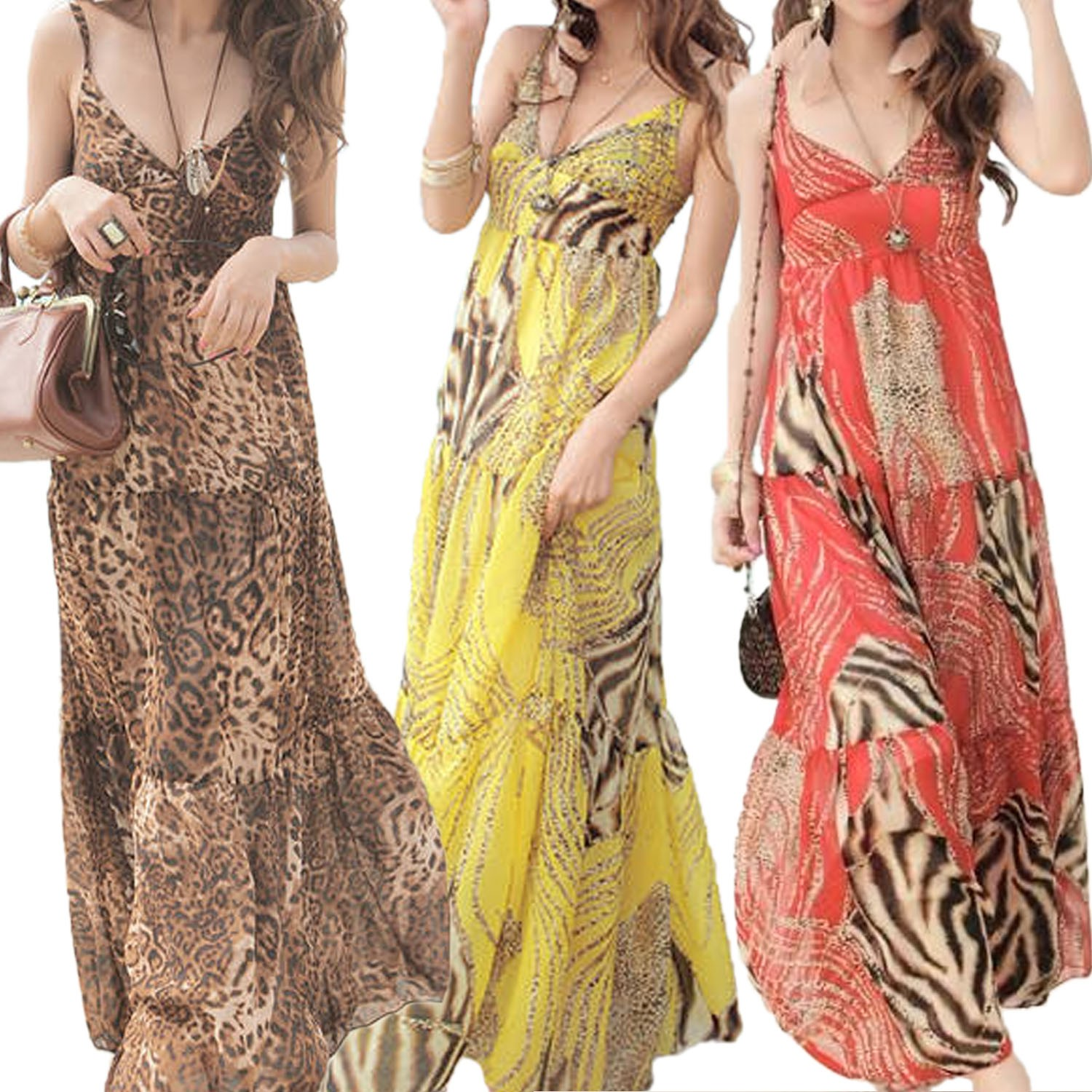 Womens Leopard/Yellow/Red Vintage Summer Bohemian Hippie Long Dress Sz S 2 4