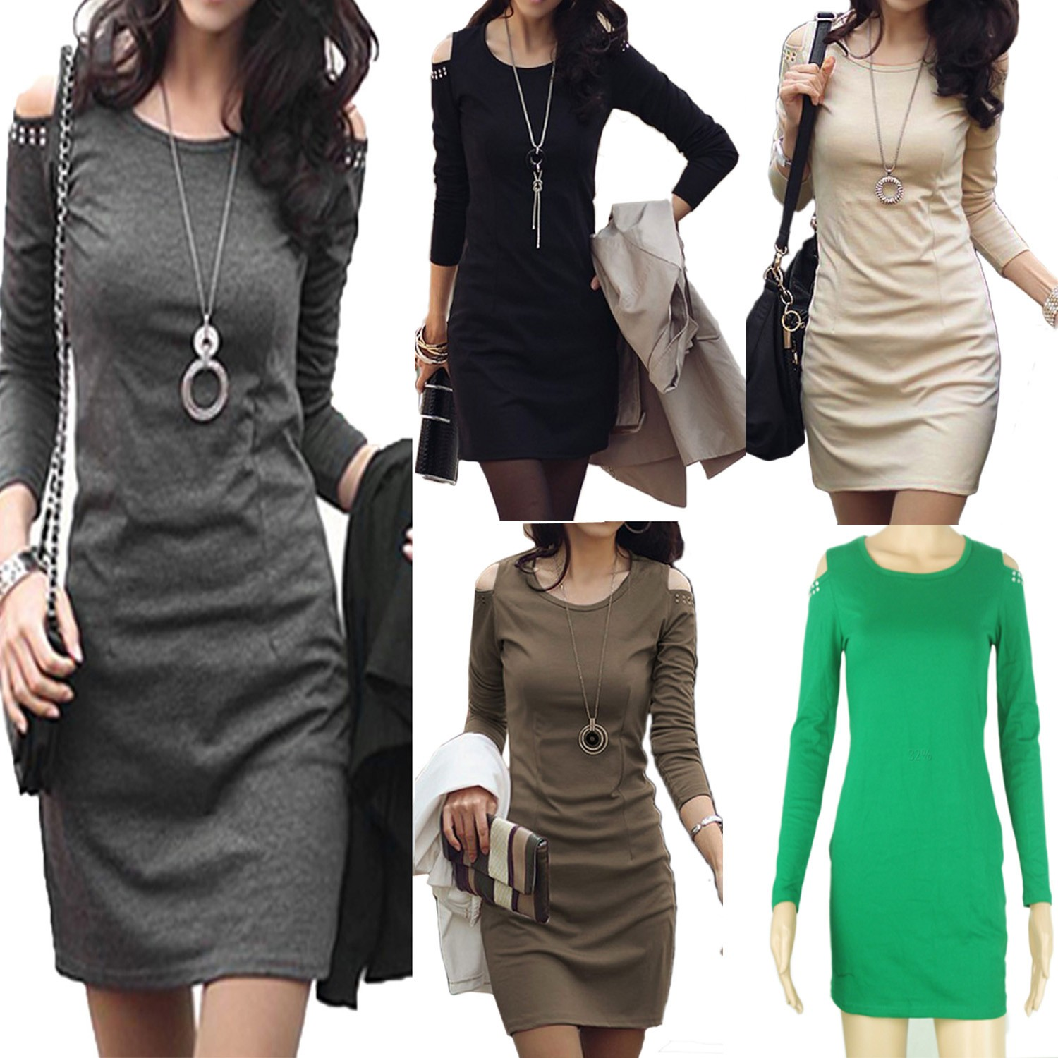 Ladies Winter Party Long Sleeve Beaded Bodycon Mini Dress