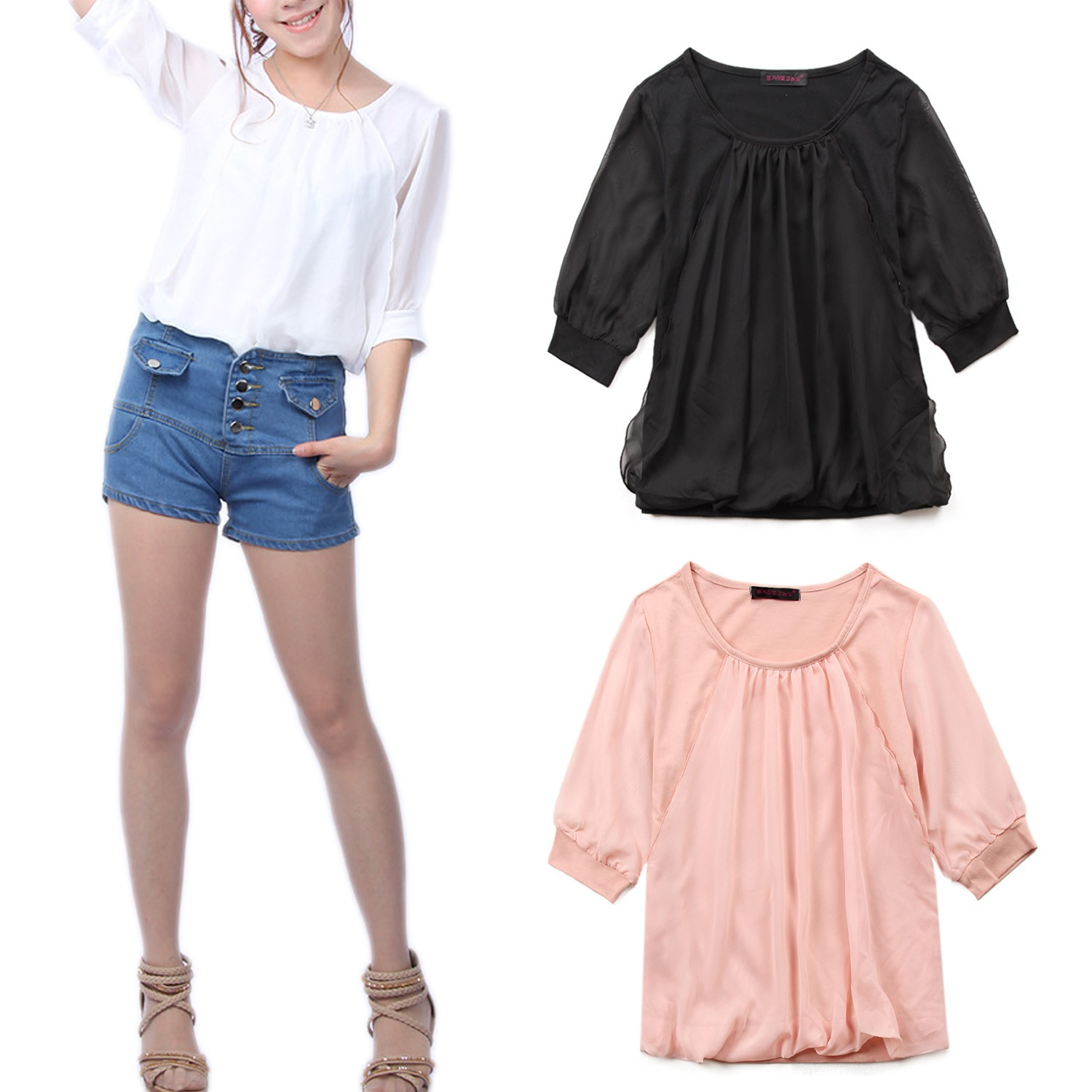 Black/Pink/White Ladies NEW Womens Sexy Vintage Chiffon Top Blouse