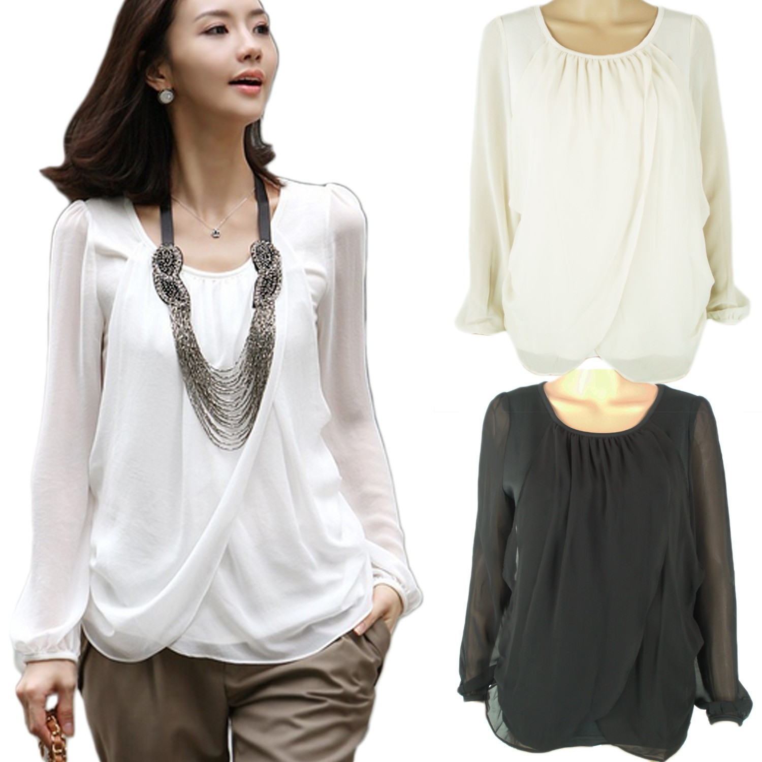 Slouch Simple Long Sleeve Chiffon Sheer Top Blouse AU 6 8 10 Womens Ladies