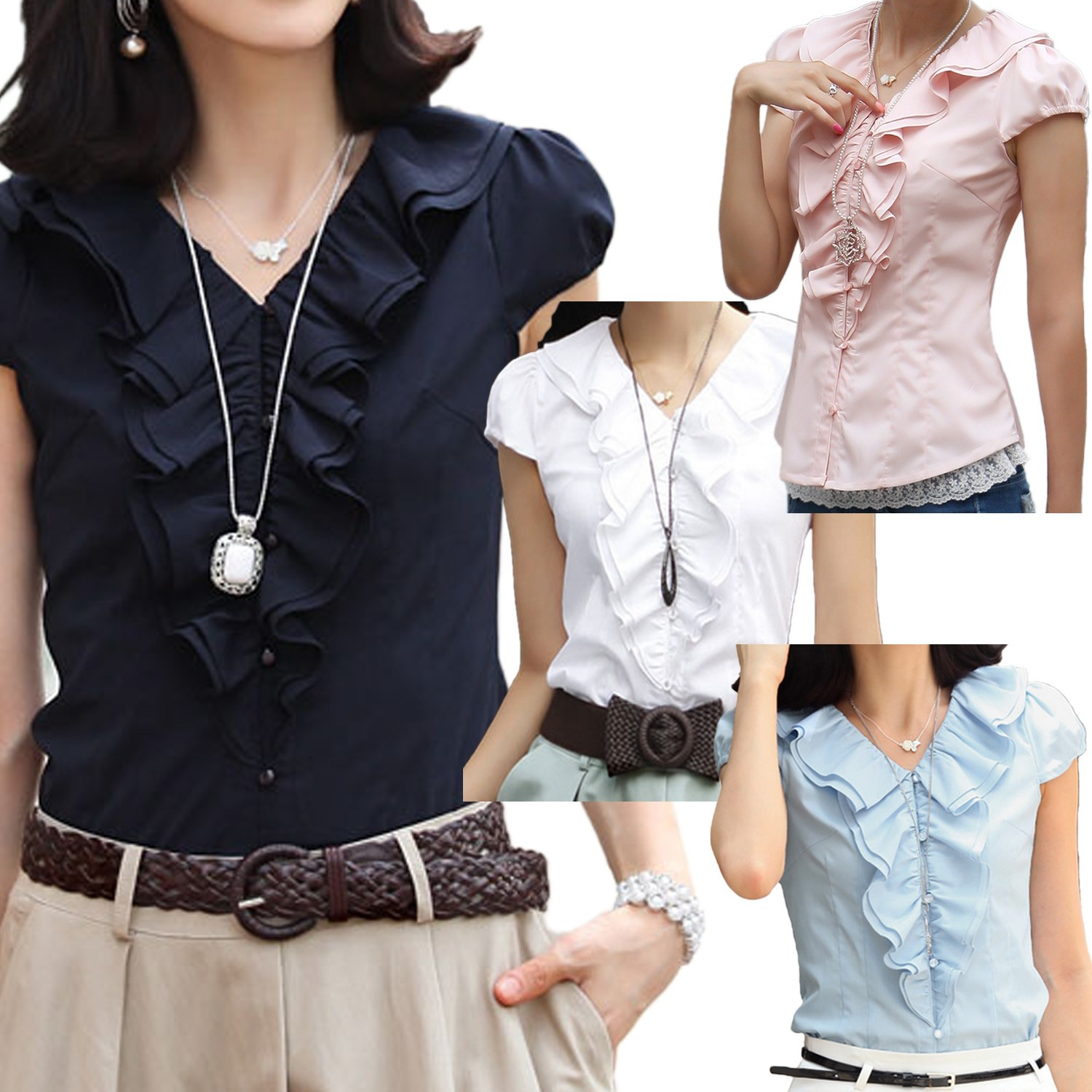 Black/Blue/Pink/White Vintage Work Office Womens Short Cap Sleeve Shirt Top