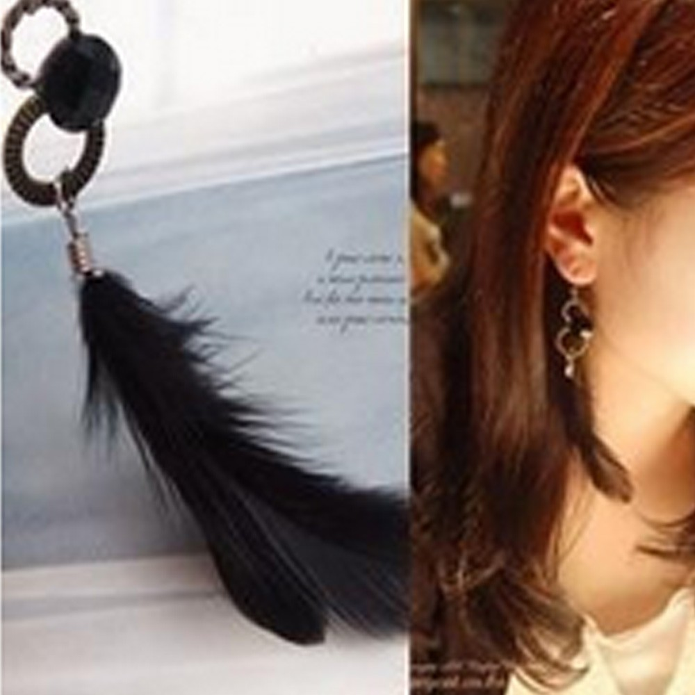 Black Boho Ladies Accessories Vintage Gift Womens Long Feather Dangle Earrings