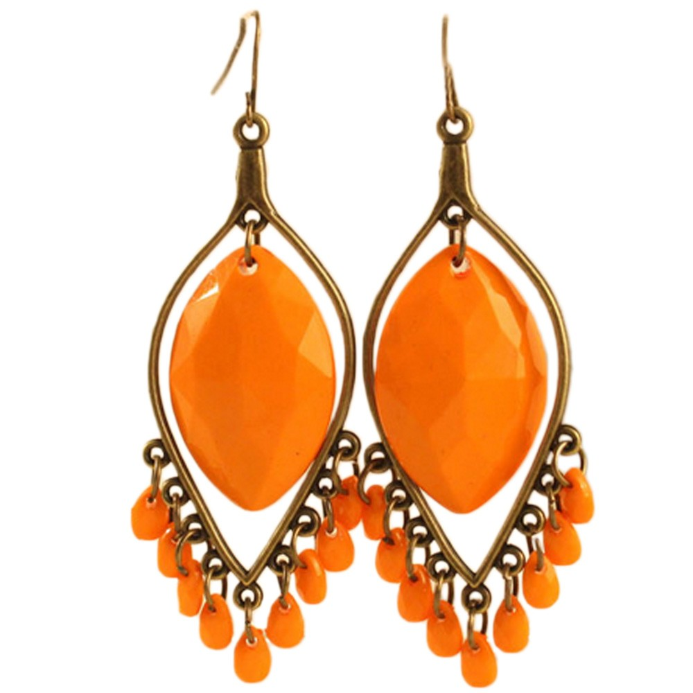 Orange 80s Ladies Womens Faux Gemstone Dangle Earrings