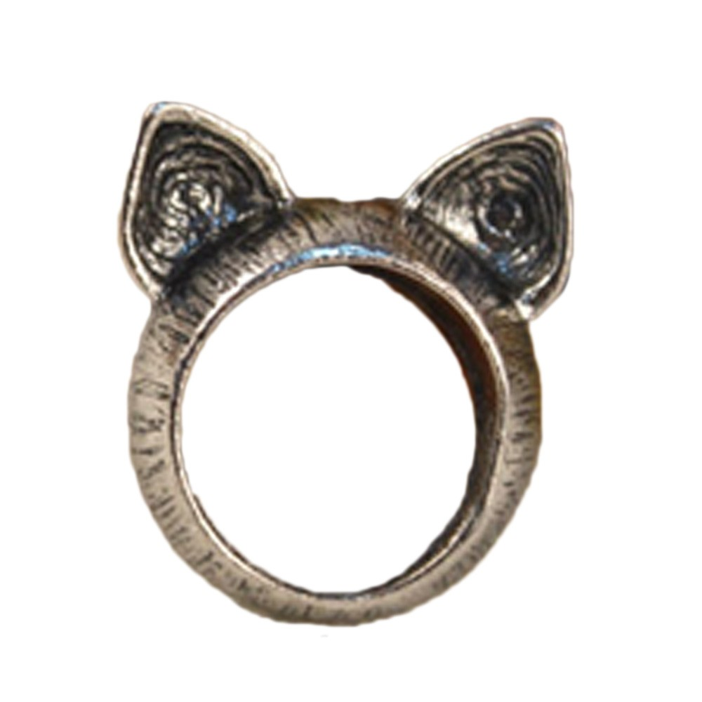 Silver Ladies Cute Kitty NEW Womens Cat Ears Antique Ring