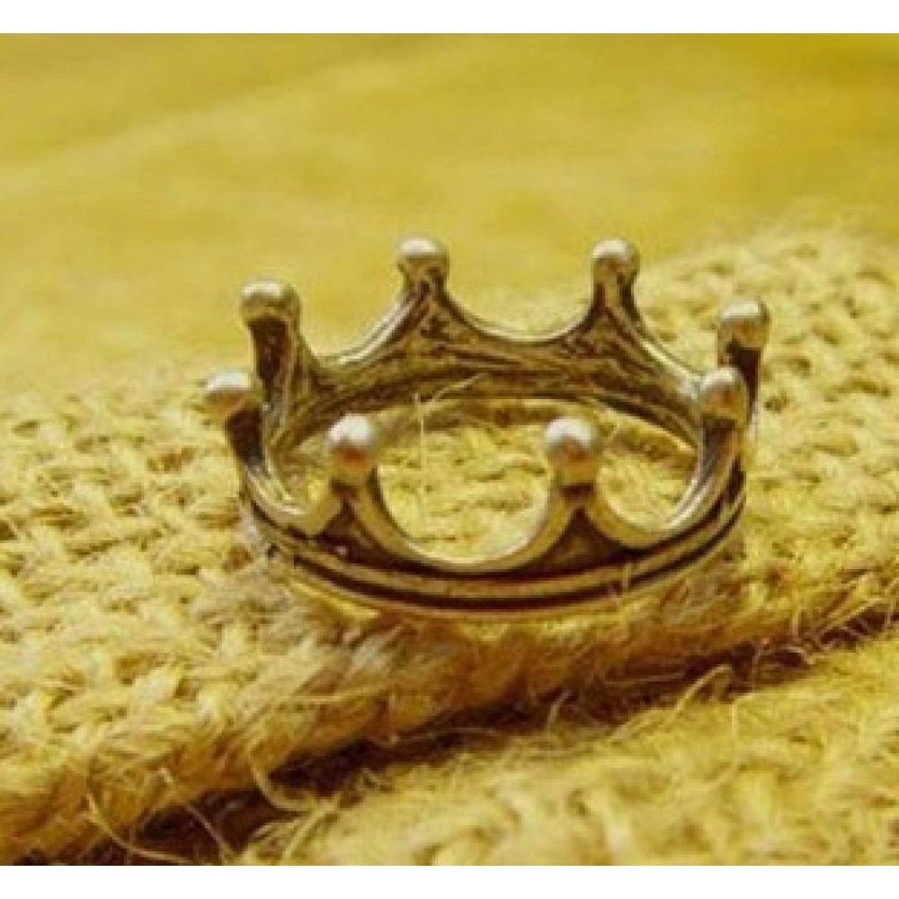 Bronze Stylish Cute VTG Ladies Womens Crown Antiqued Ring