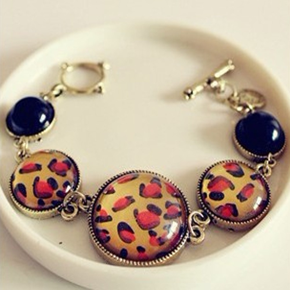 Bronze Ladies Japan Gothic Womens Vivid Leopard Beaded Bangle Bracelet