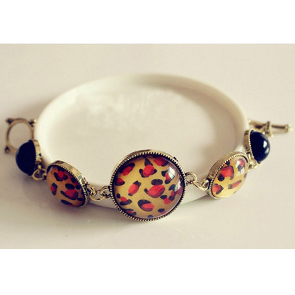 Bronze Beautiful Gothic NEW Korea Celebrity Leopard Beaded Bangle Bracelet