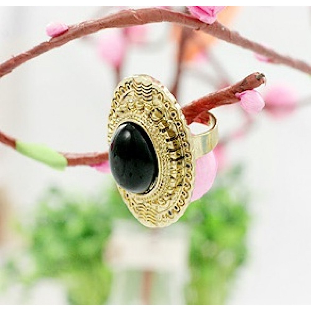 Black Womens NEW Ladies Stylish Stone Bronze Antiqued Ring