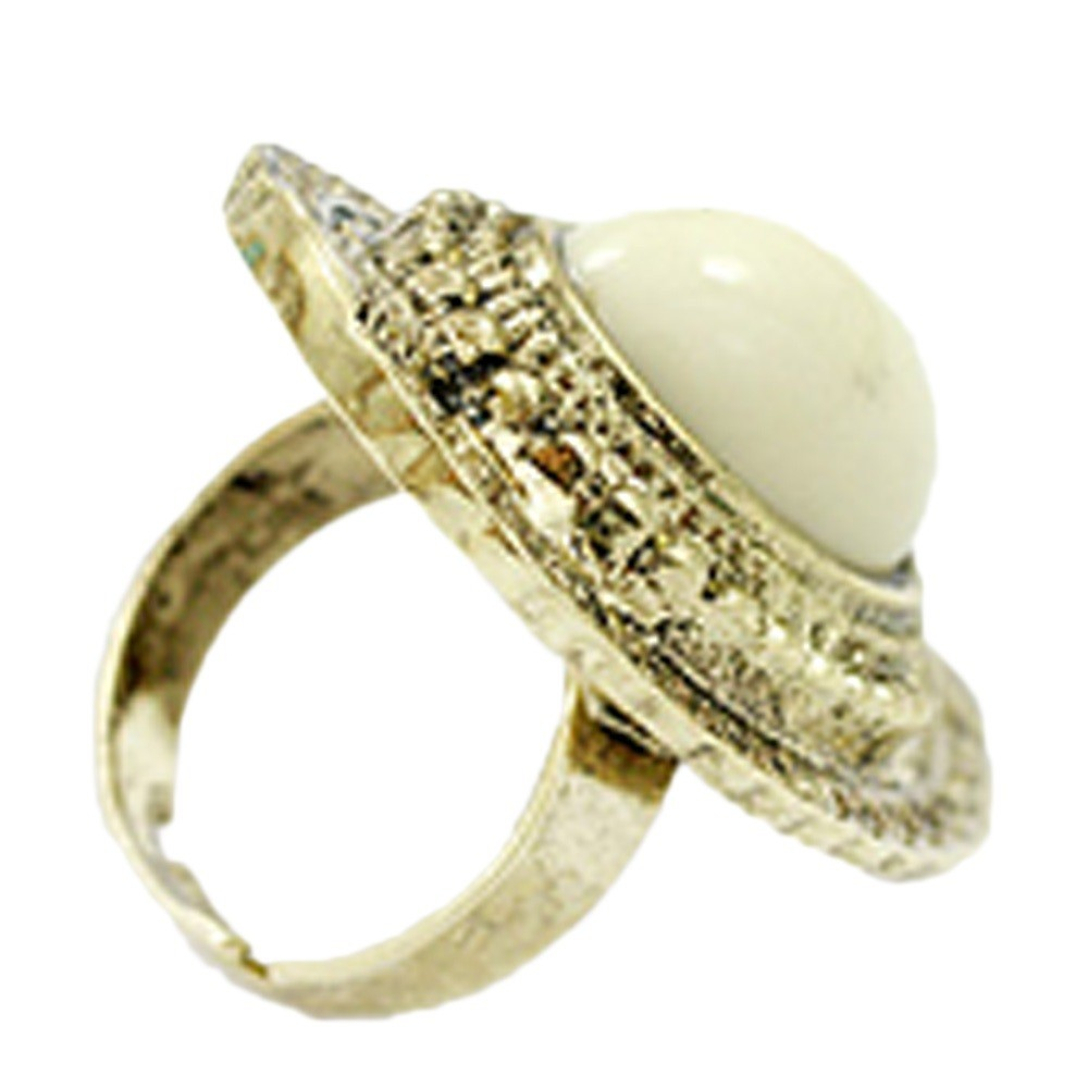 White Ladies Vintage Womens Gold Retro Jewelry Gemstone Adjustable Ring