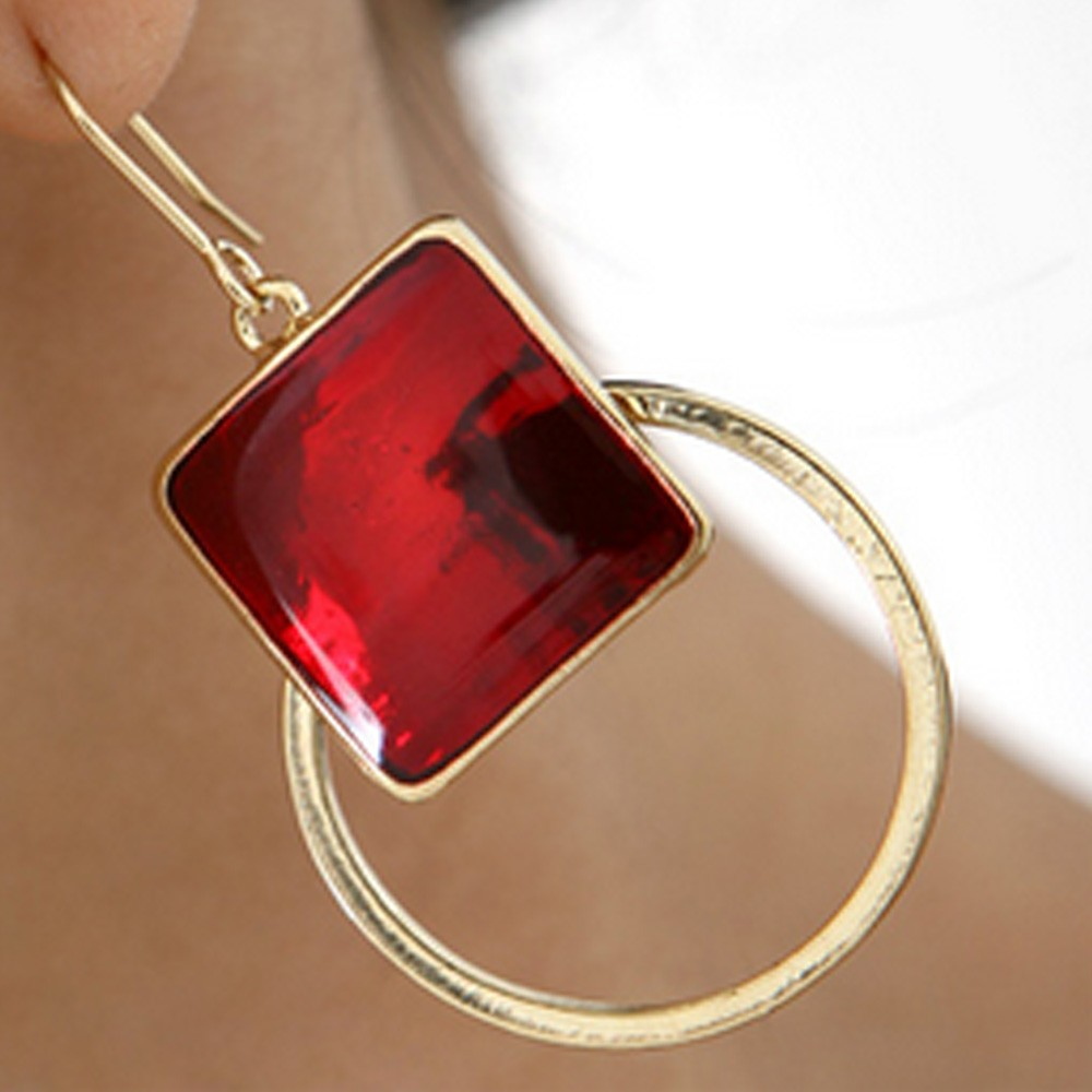 Red Fashion Womens Ladies Gold Square Circle Earrings